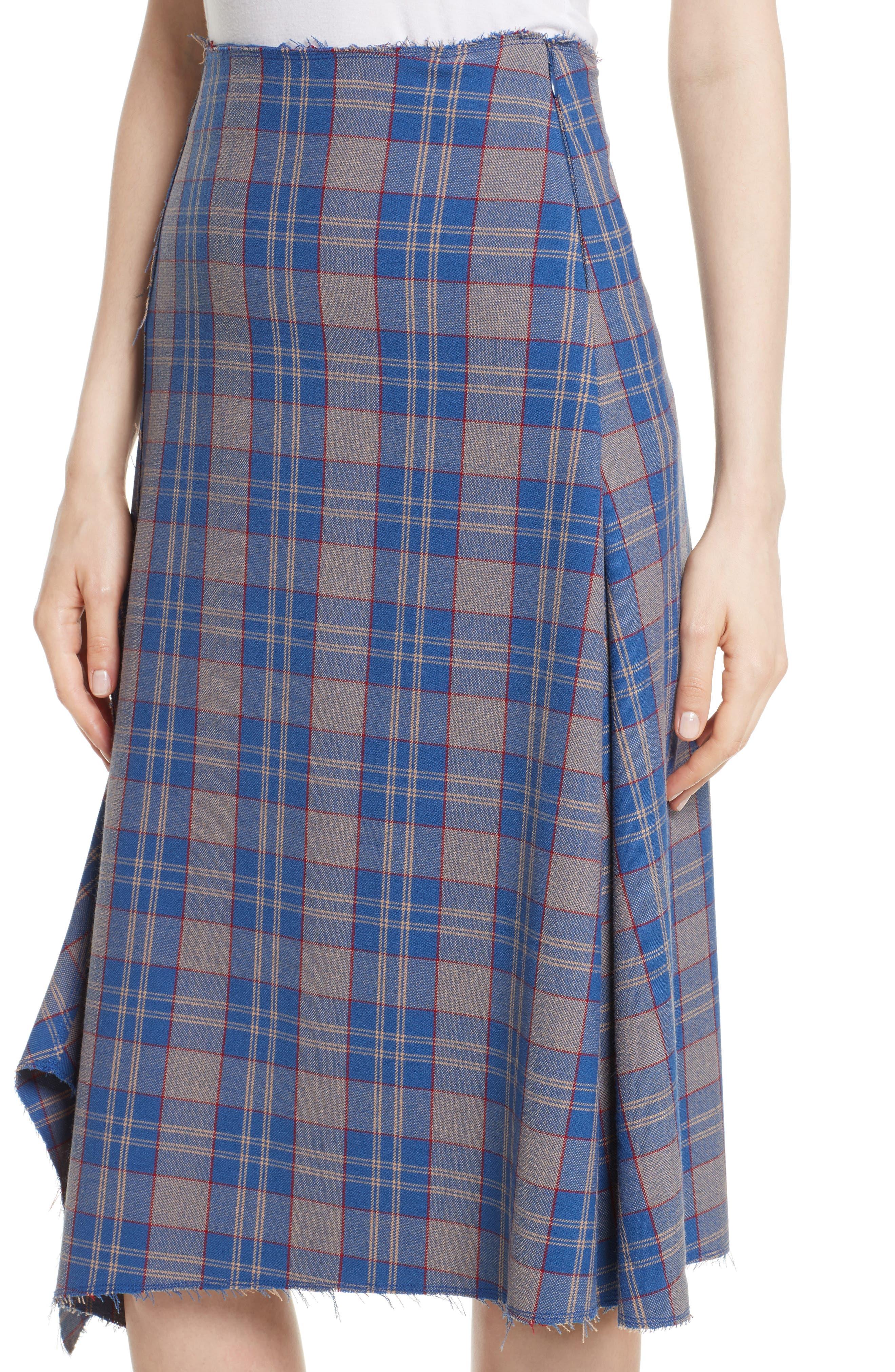 Asymmetric Plaid Midi Skirt,                             Alternate thumbnail 4, color,                             Bijou Multi