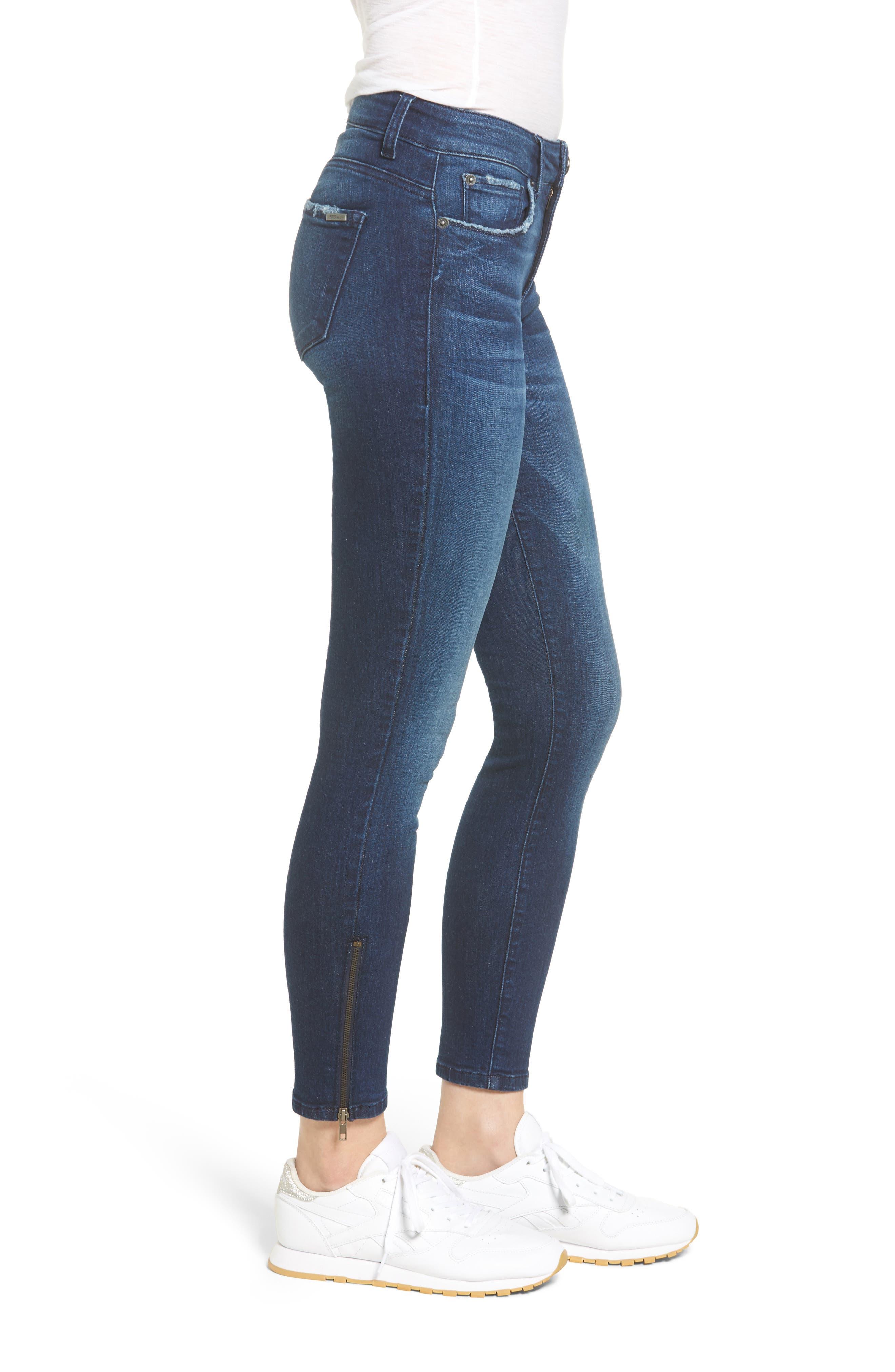 Emma Ankle Zip Skinny Jeans,                             Alternate thumbnail 3, color,                             Groveland