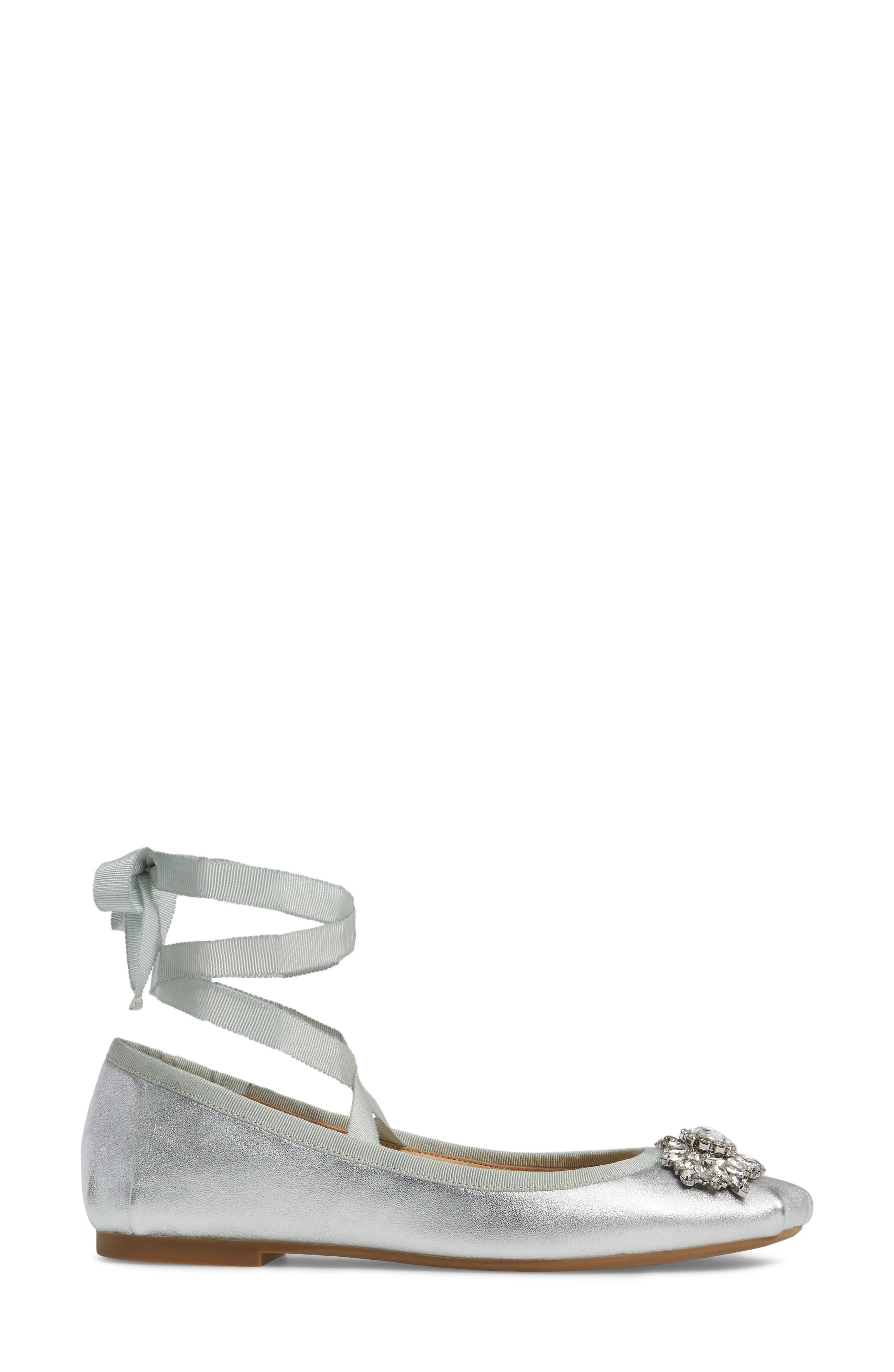 Alternate Image 3  - Badgley Mischka Karter II Embellished Ankle Wrap Ballet Flat (Women)