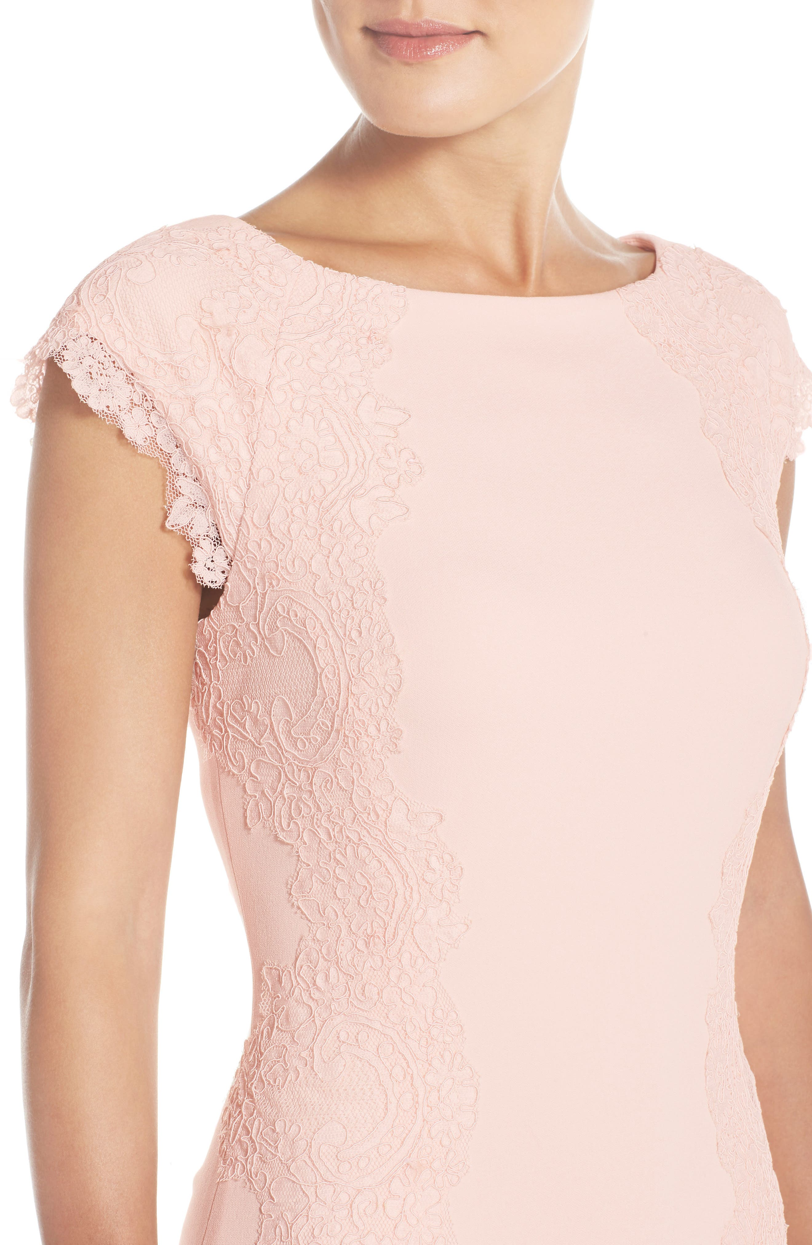 Lace Detail Crepe Sheath Dress,                             Alternate thumbnail 4, color,                             Blush