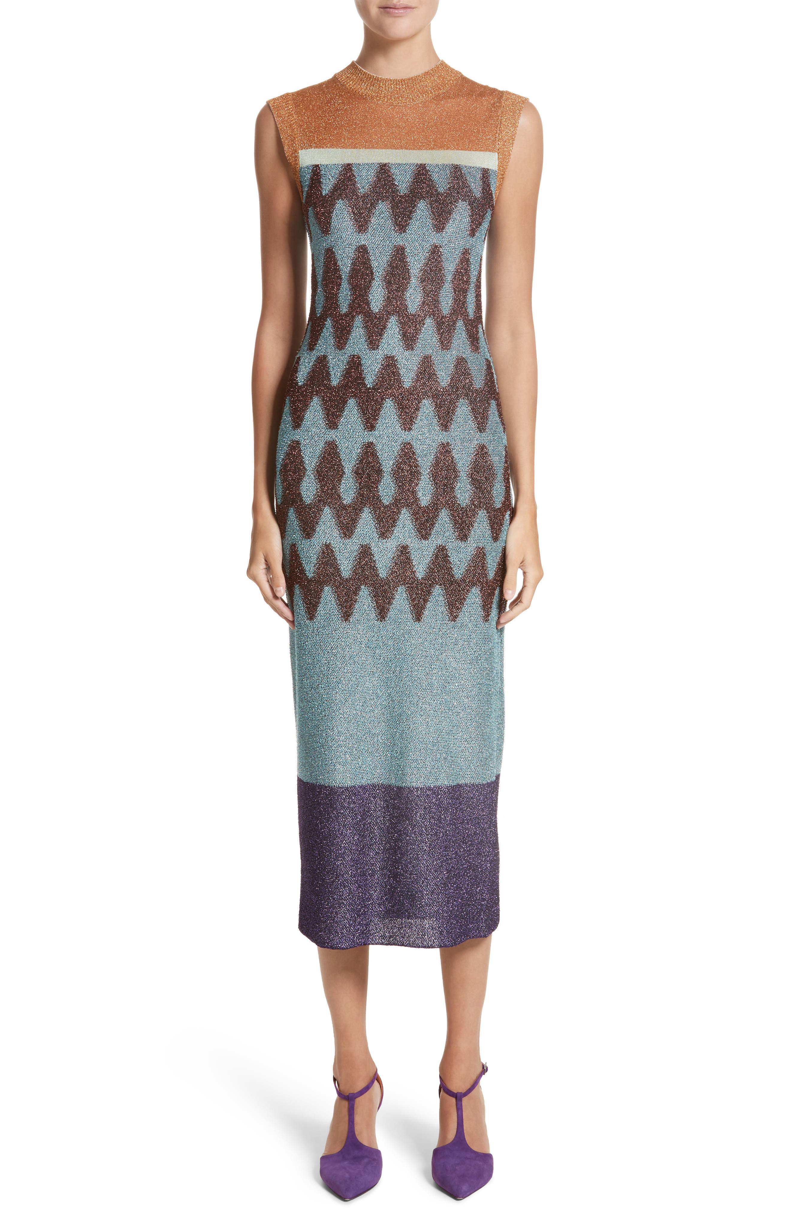 Colorblock Metallic Knit Midi Dress,                         Main,                         color, Rust/ Blue