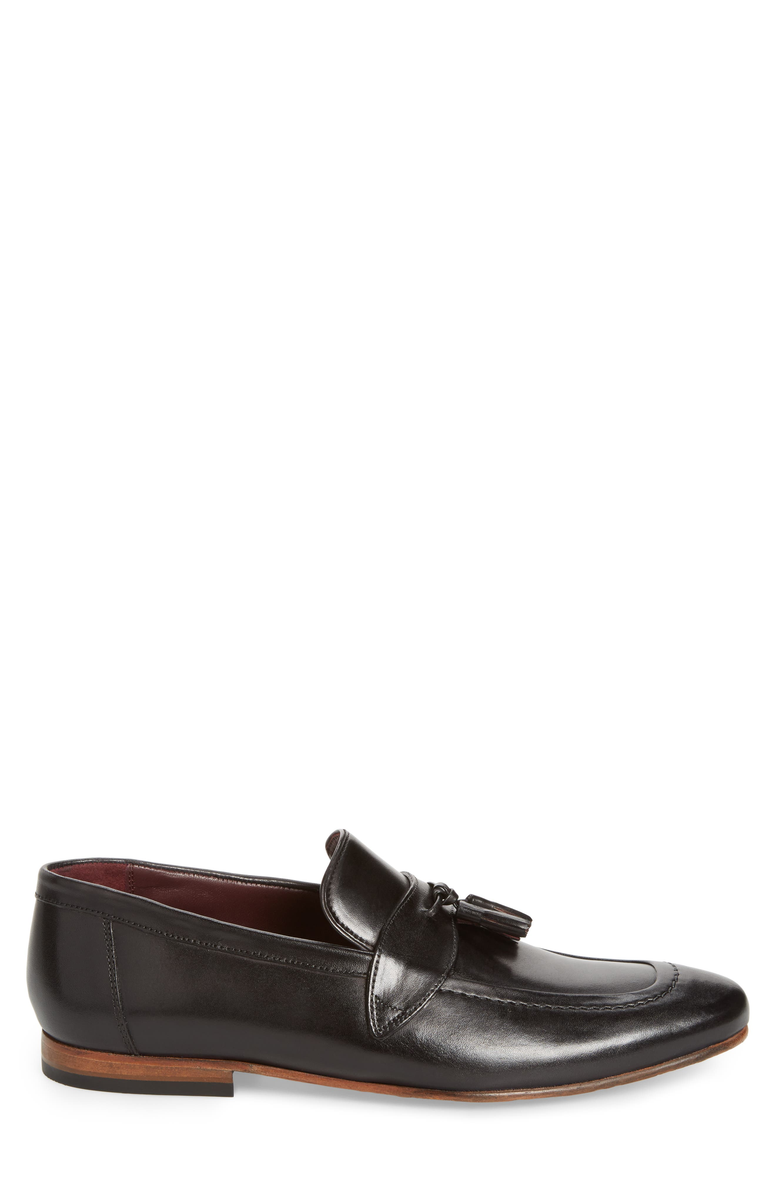 Grafit Tassel Loafer,                             Alternate thumbnail 6, color,                             Black Leather