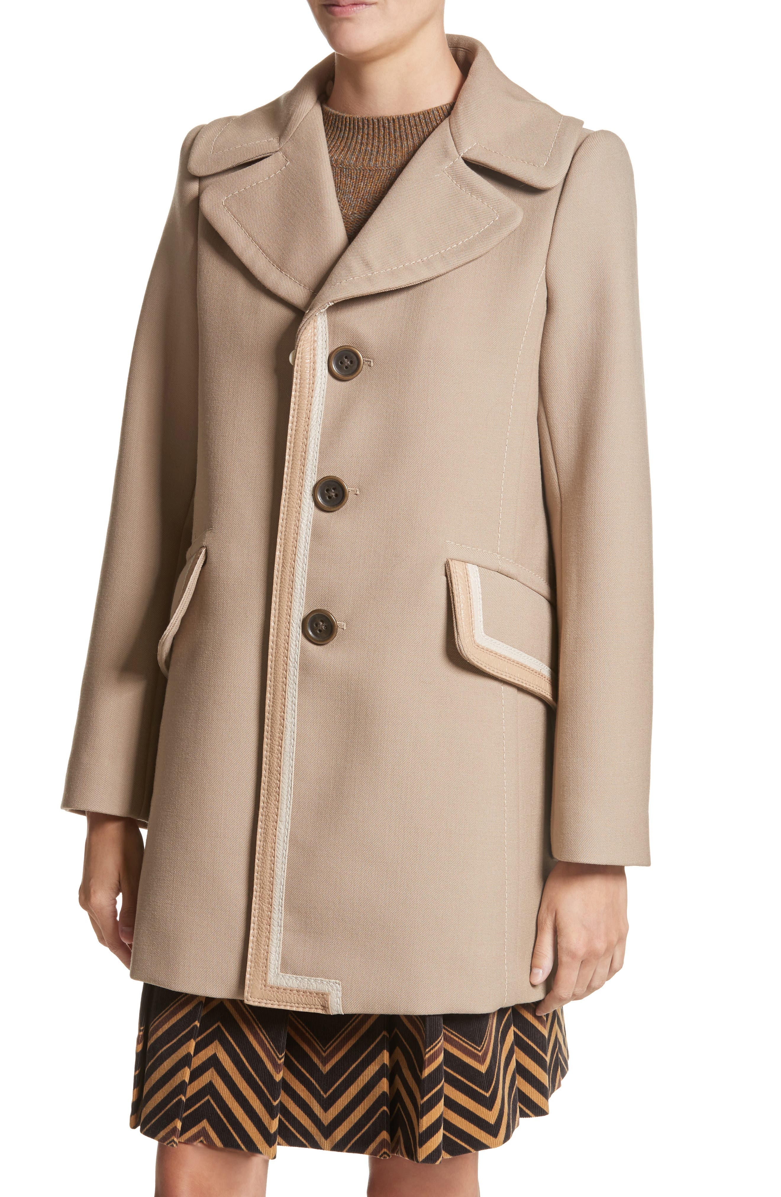 Double Face Wool Blend Coat with Removable Genuine Lamb Fur Collar,                             Alternate thumbnail 4, color,                             Beige