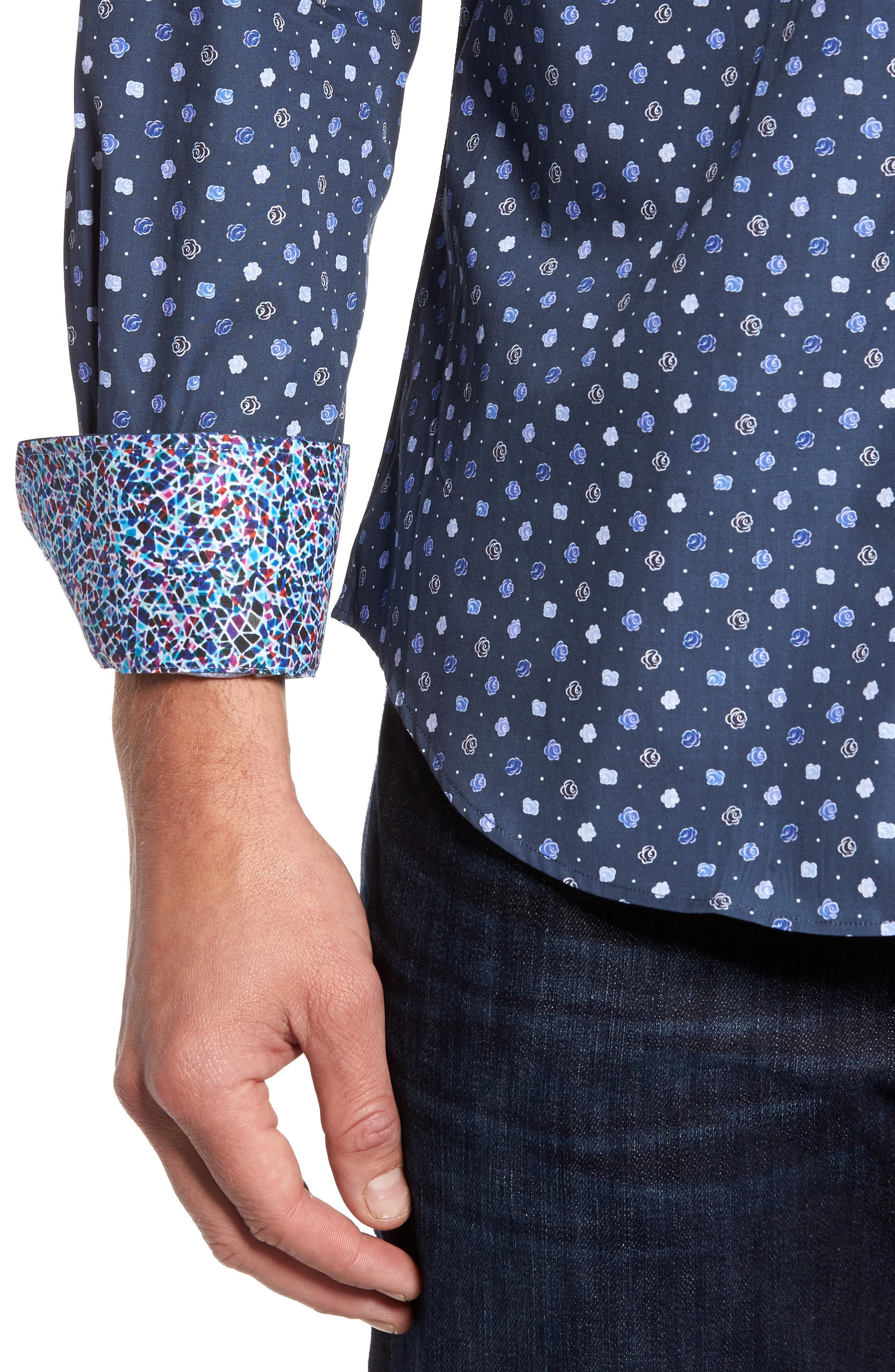 Shaped Fit Flower Print Sport Shirt,                             Alternate thumbnail 6, color,                             Navy