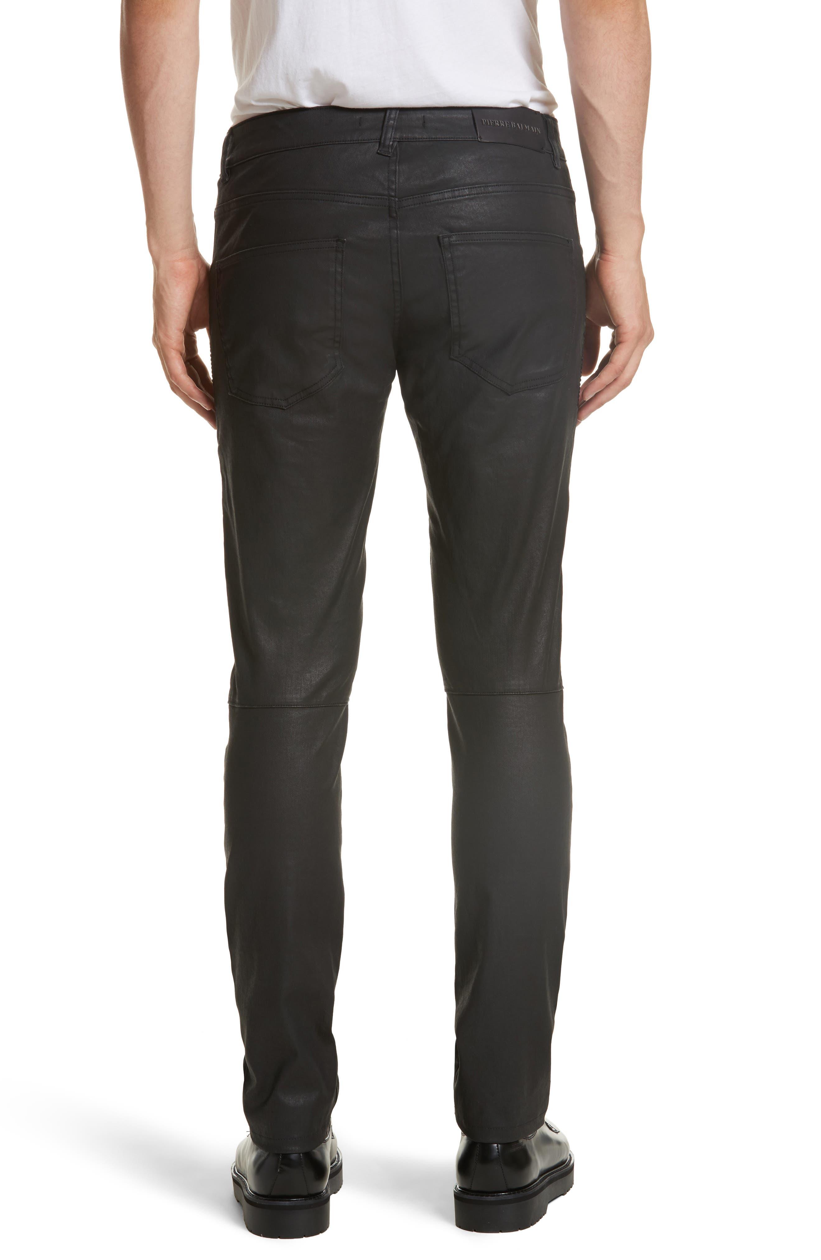 Alternate Image 2  - Pierre Balmain Core Coated Moto Jeans