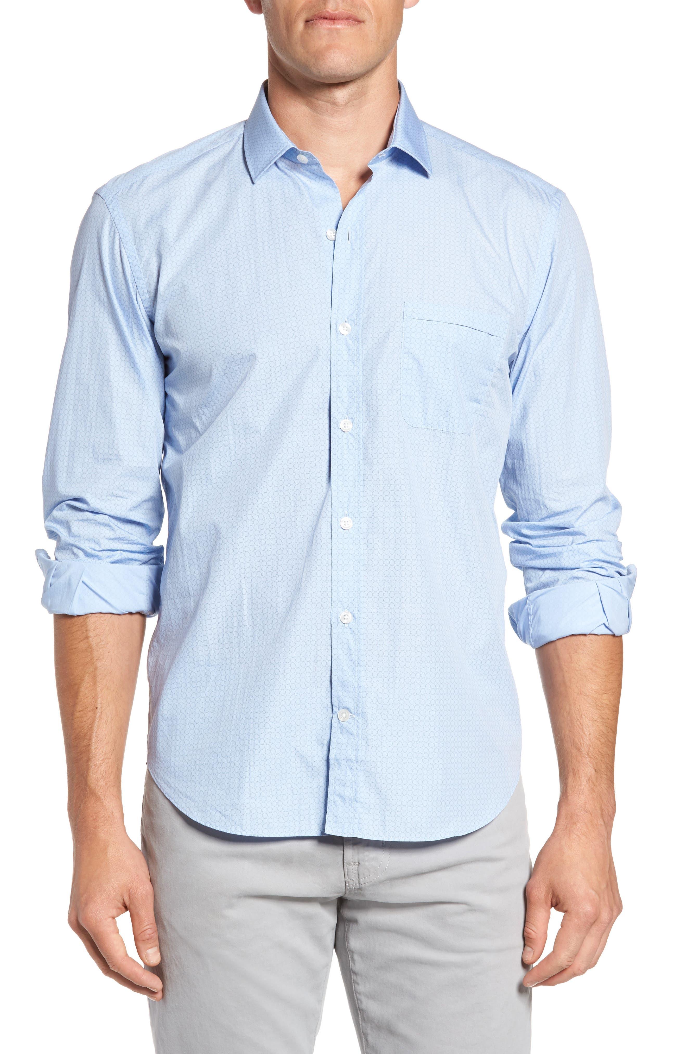 Trim Fit Heritage Print Sport Shirt,                         Main,                         color, Light Blue
