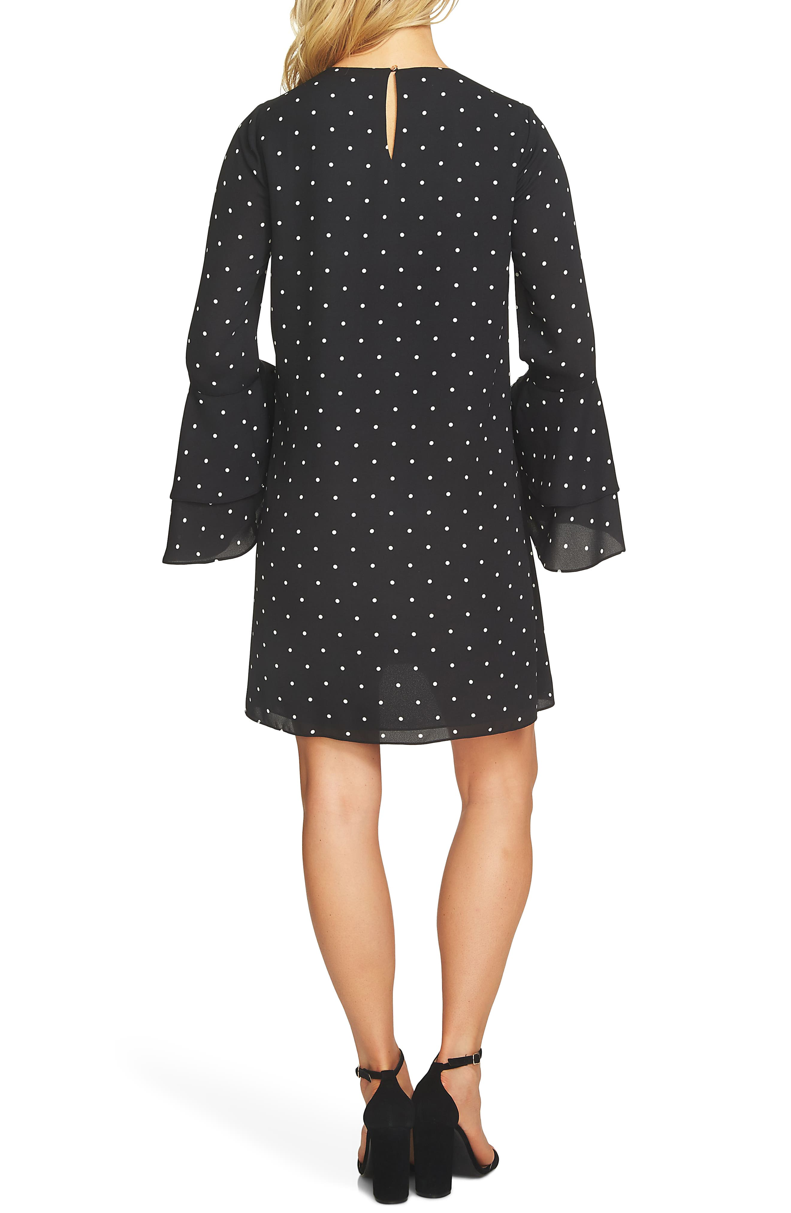 Bell Sleeve Polka Dot Dress,                             Alternate thumbnail 2, color,                             Rich Black