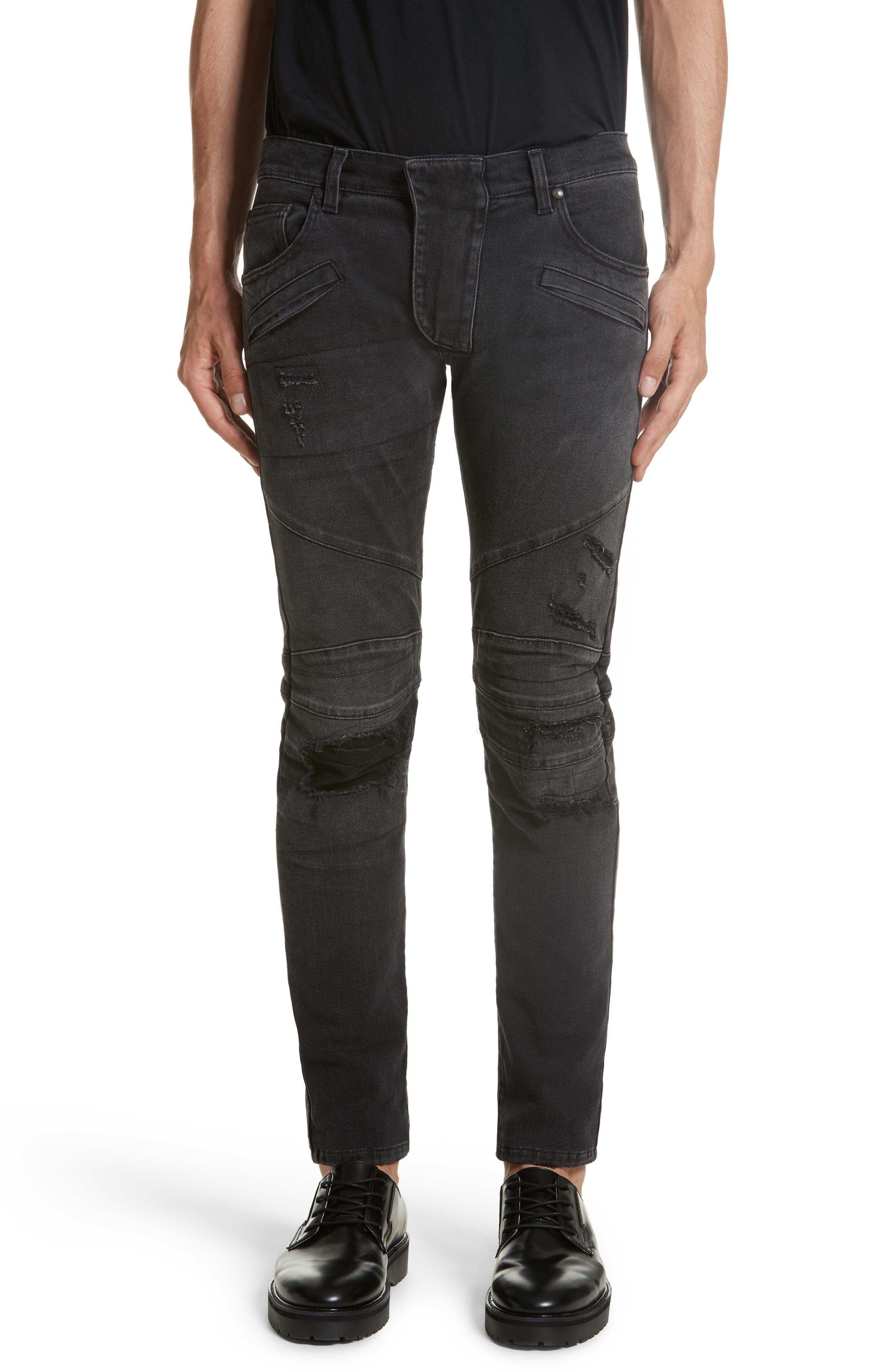 Pierre Balmain Destroyed Moto Jeans