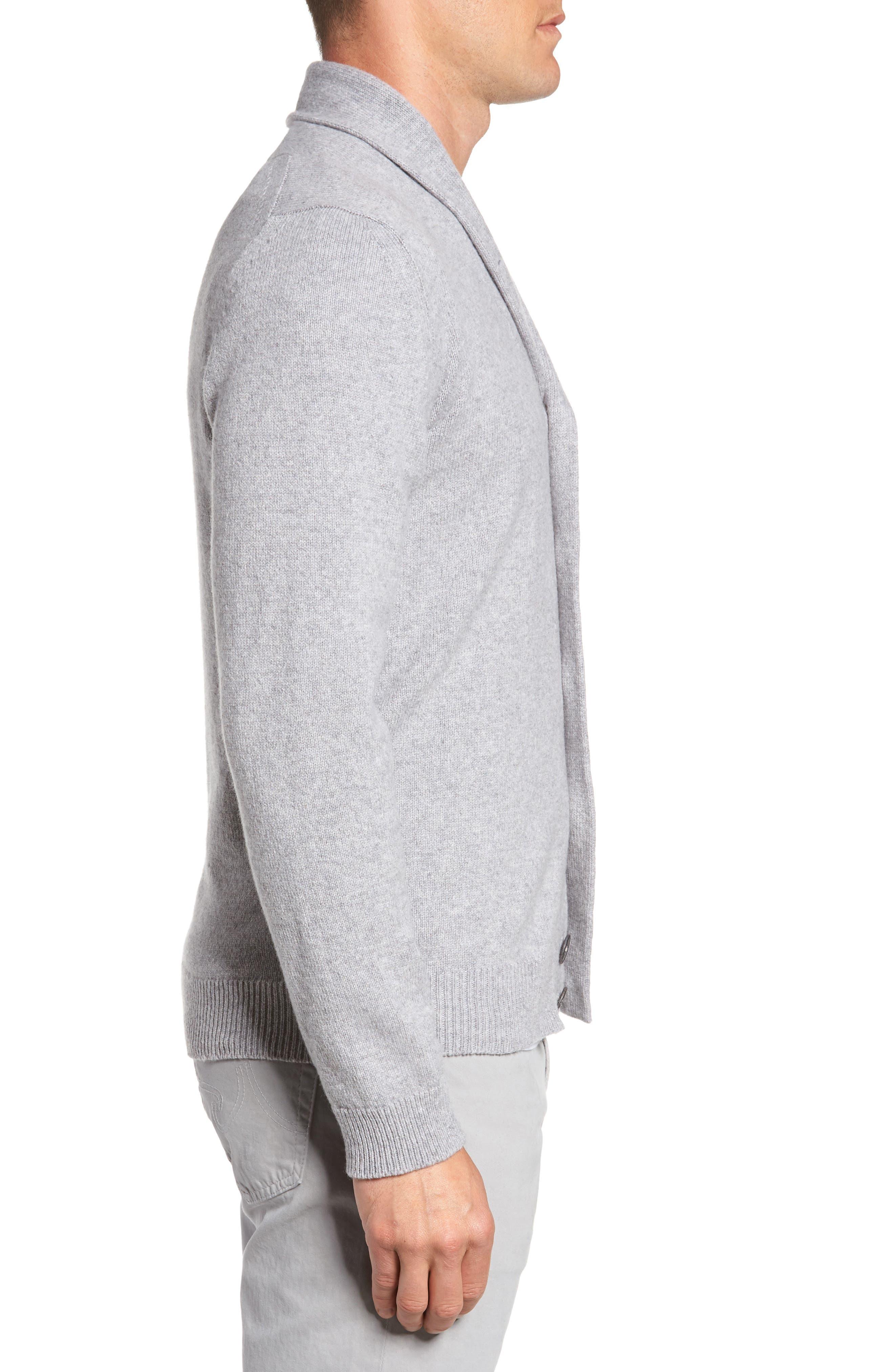 Slim Fit Merino Wool & Cashmere Cardigan,                             Alternate thumbnail 3, color,                             Silver