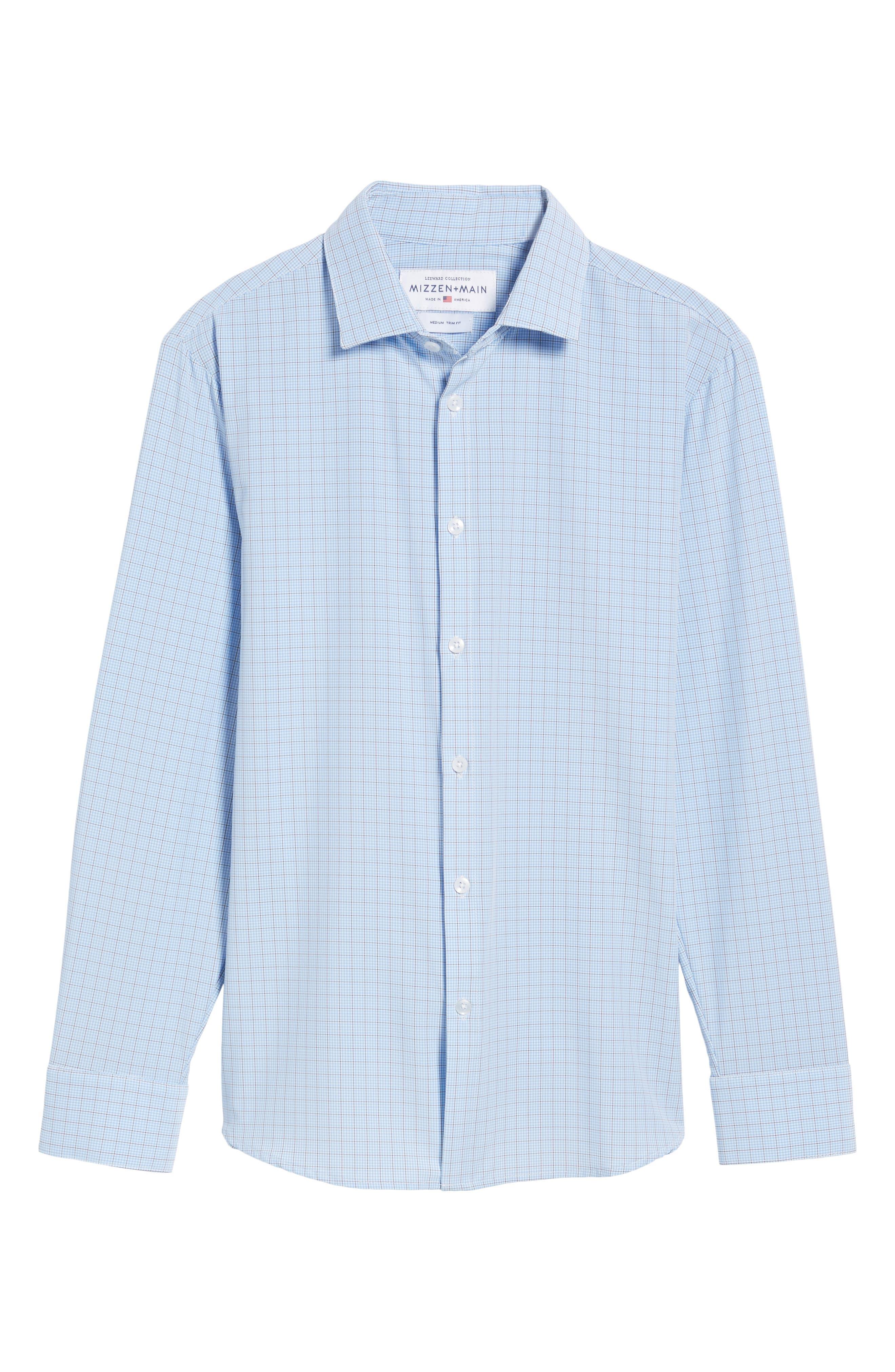 Davis Check Sport Shirt,                             Alternate thumbnail 6, color,                             Blue