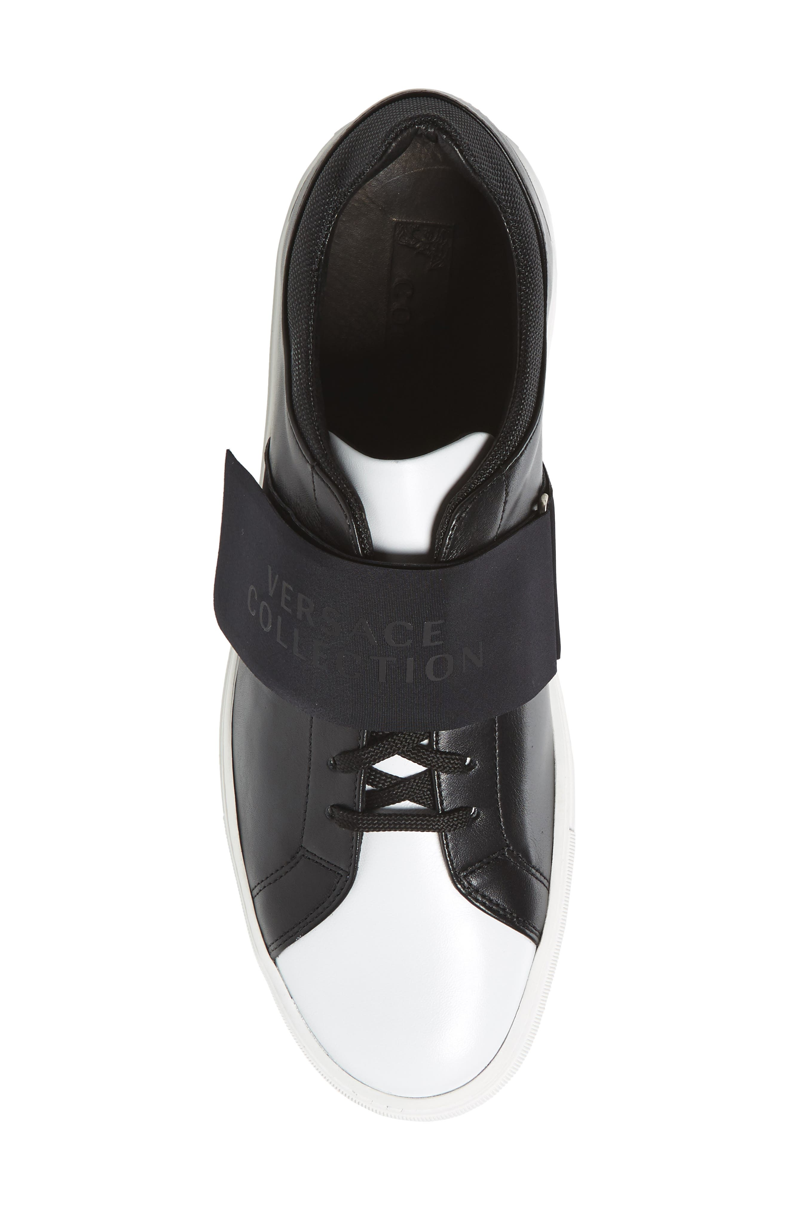 Strap Sneaker,                             Alternate thumbnail 5, color,                             Bianco/ Nero Leather