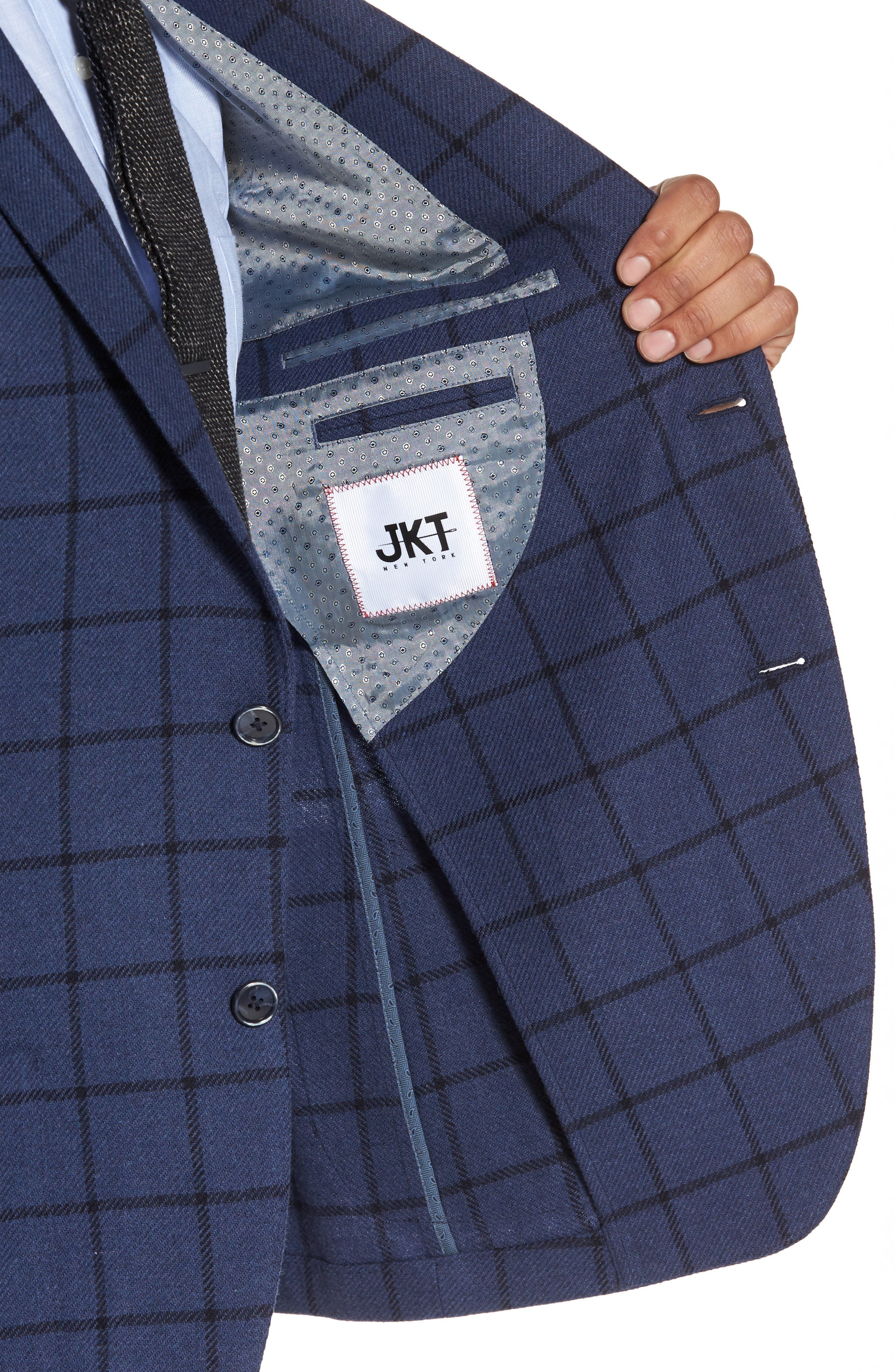 Alternate Image 4  - JKT New York Trim Fit Windowpane Wool Blend Sport Coat
