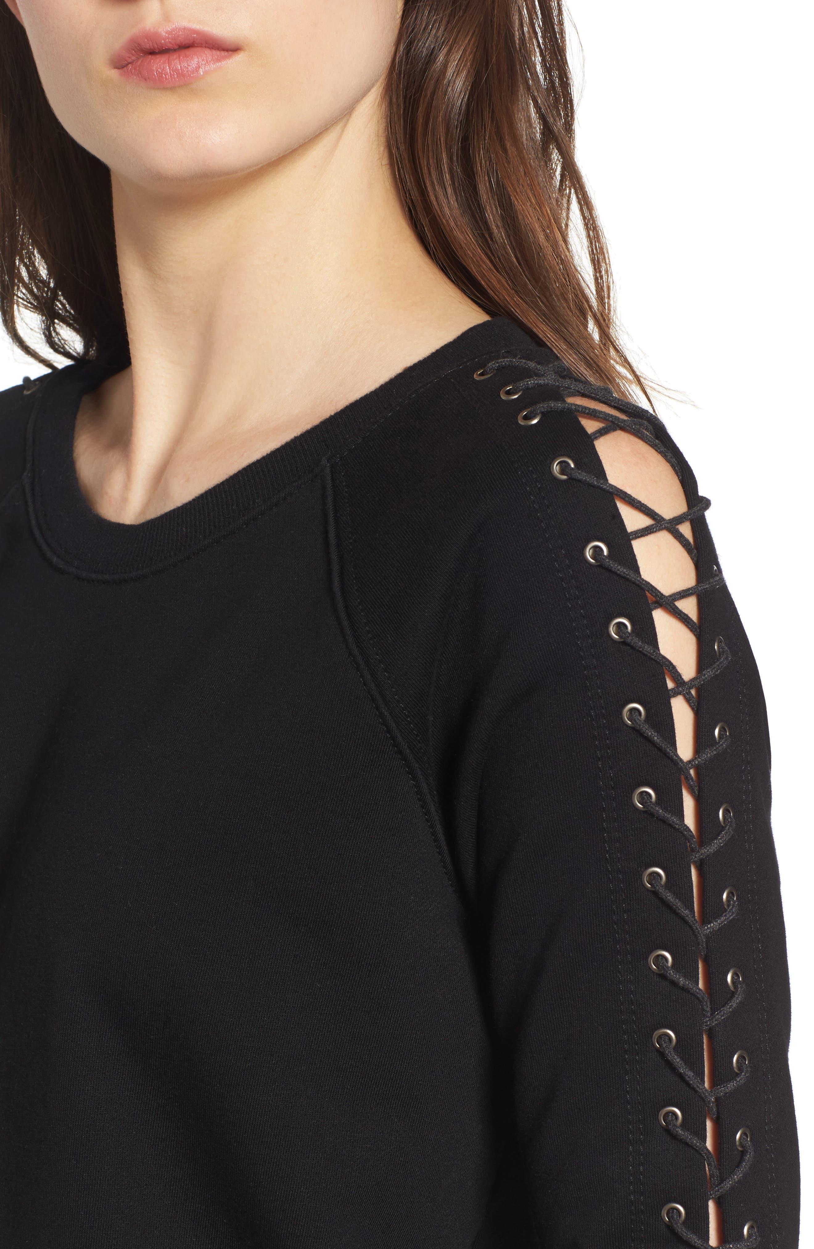 Alternate Image 4  - Pam & Gela Lace-Up Sleeve Sweatshirt
