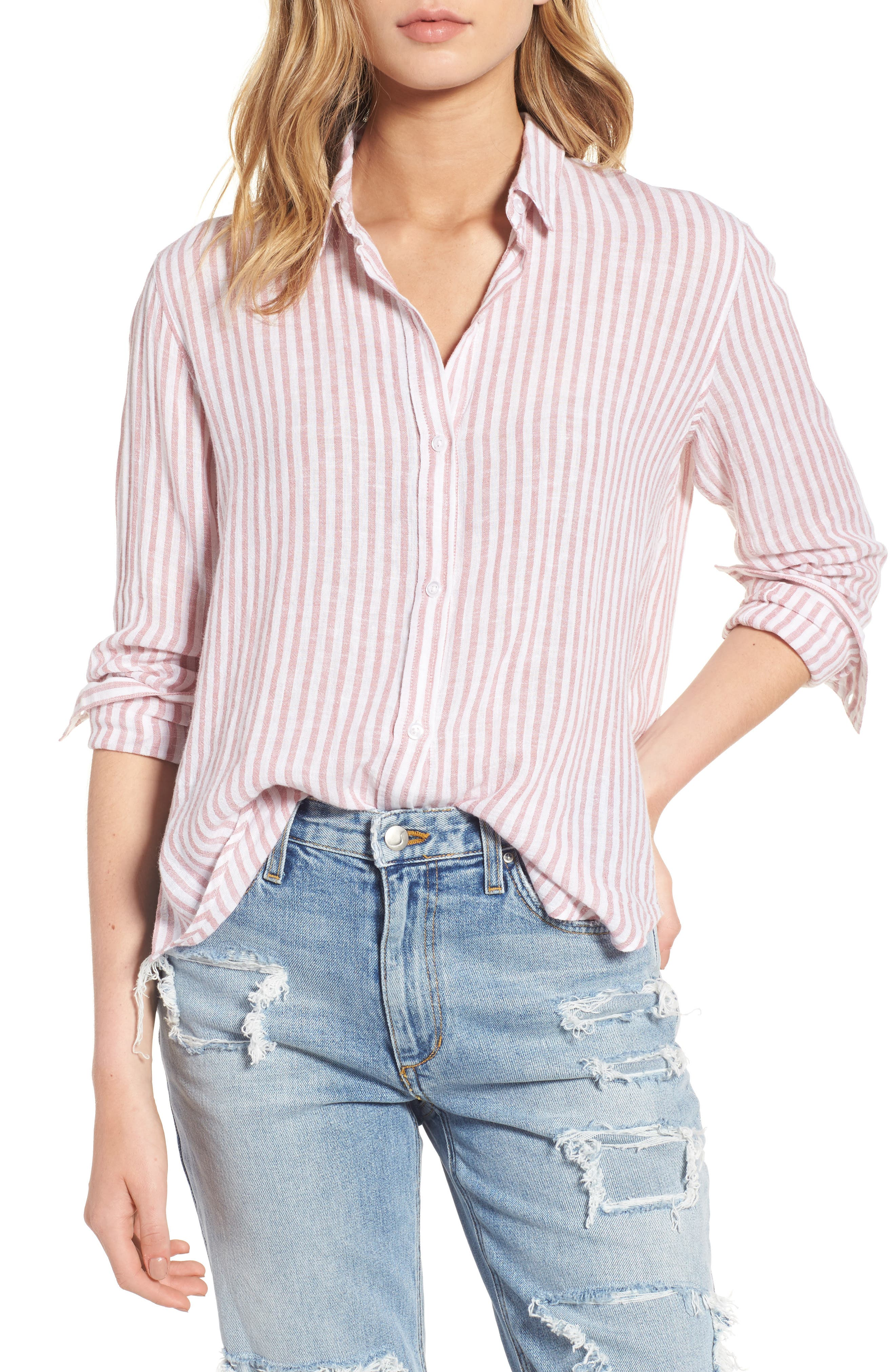 Sydney Stripe Linen Blend Shirt,                         Main,                         color, Florence Stripe