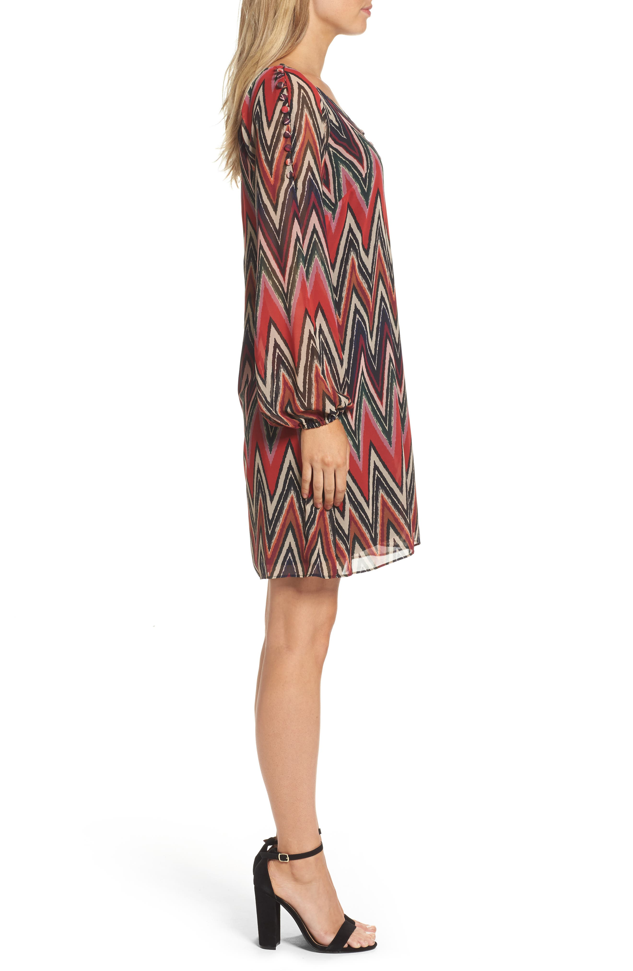 Chevron Swing Dress,                             Alternate thumbnail 3, color,                             Red/ Black