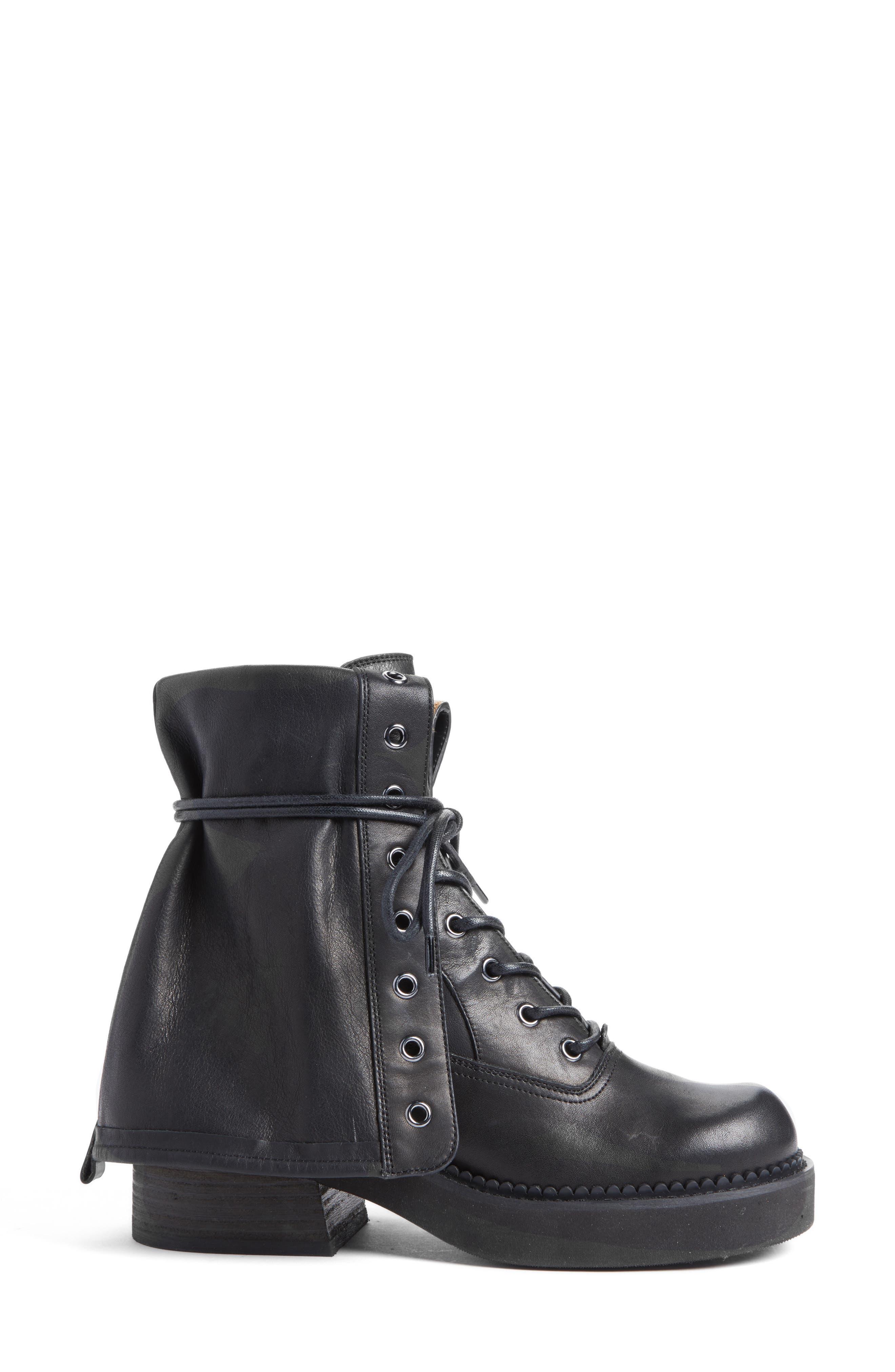 See by Chloe Katerina Foldover Combat Boot,                             Alternate thumbnail 3, color,                             Black