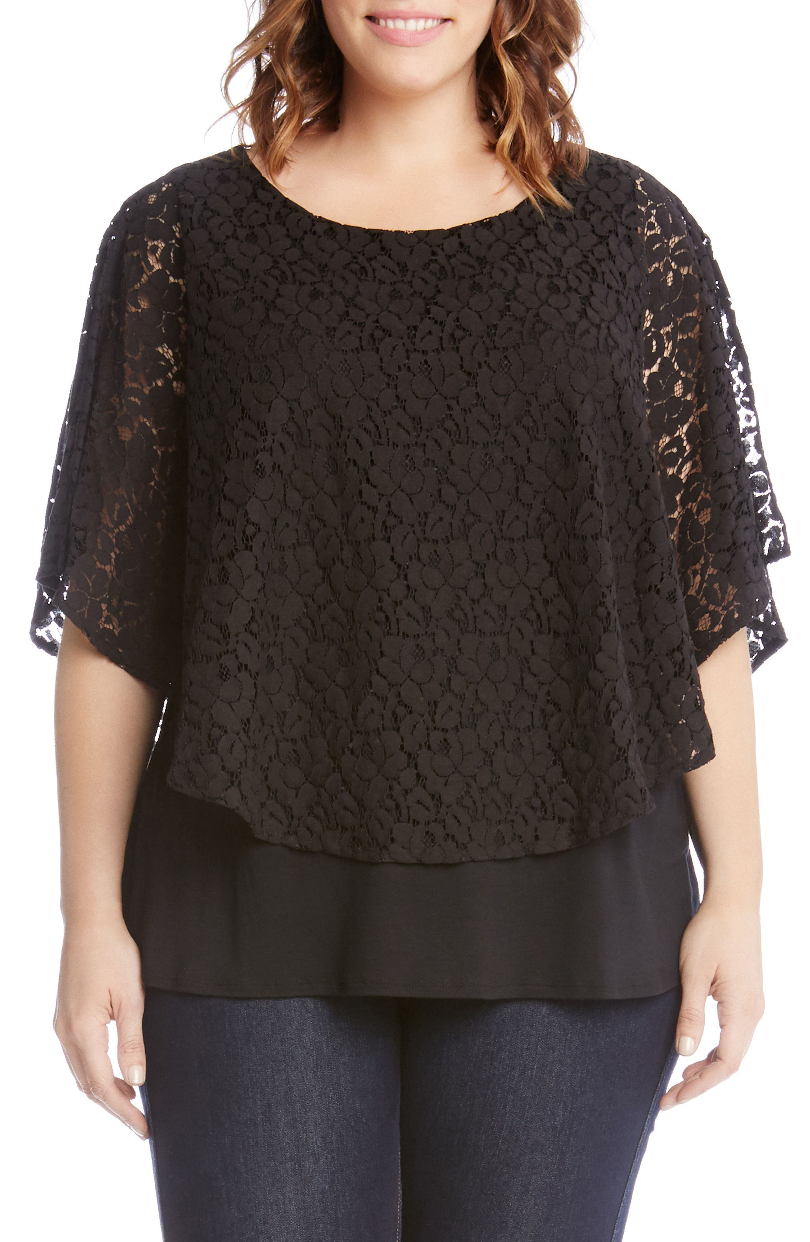 Lace Overlay Top,                         Main,                         color, Black