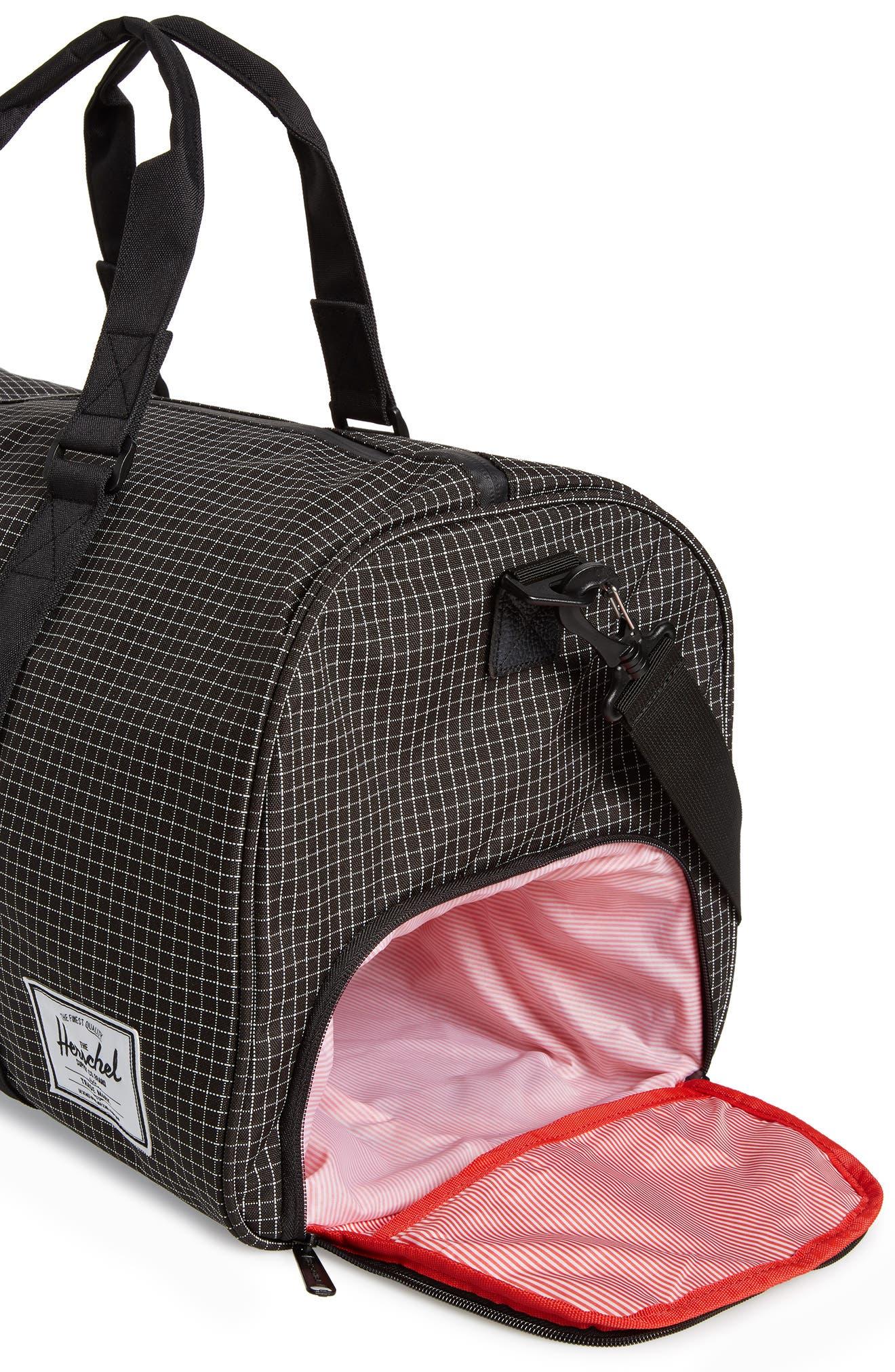 Novel Duffel Bag,                             Alternate thumbnail 5, color,                             Black Grid