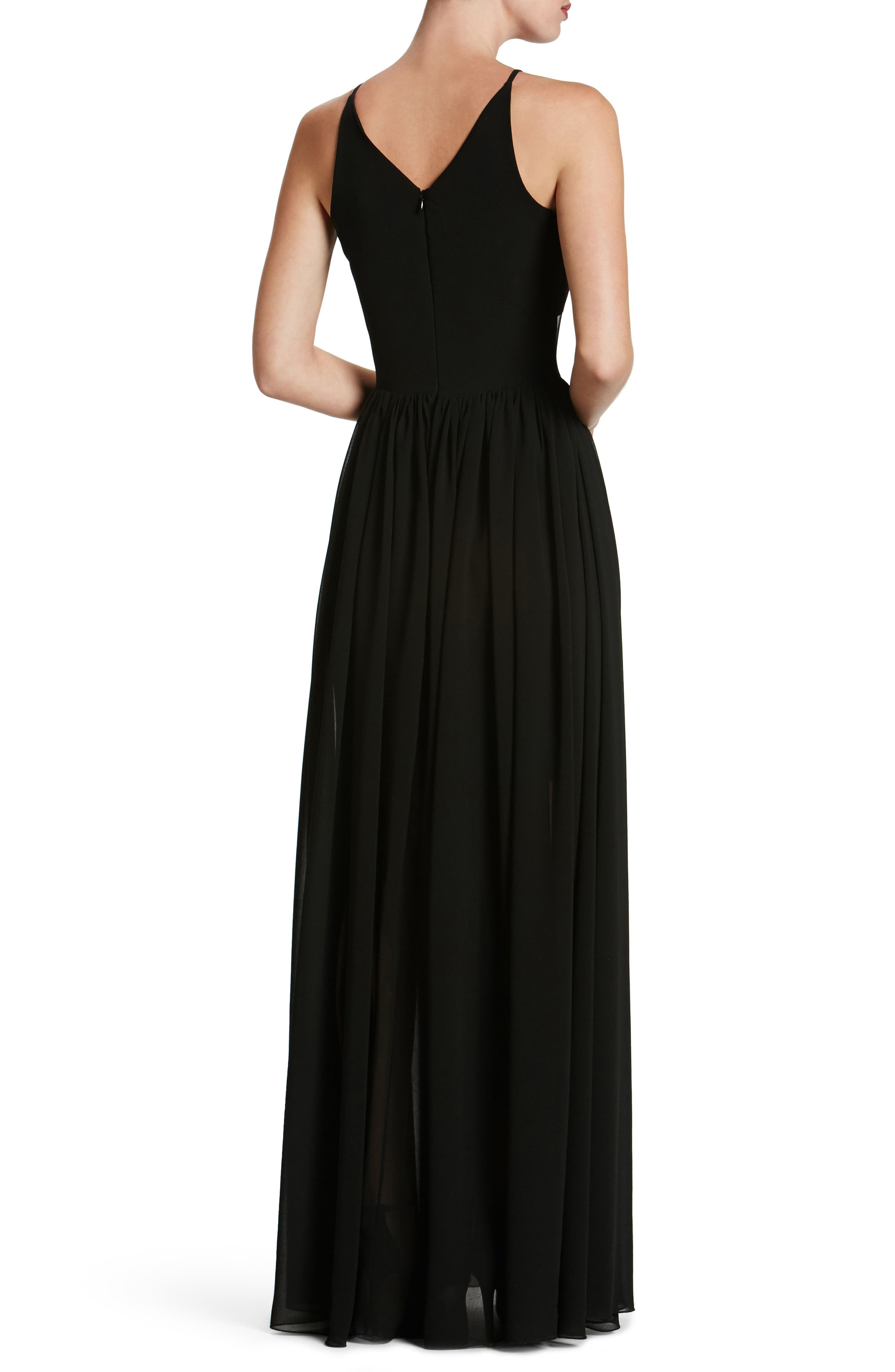 Patricia Illusion Gown,                             Alternate thumbnail 2, color,                             Black