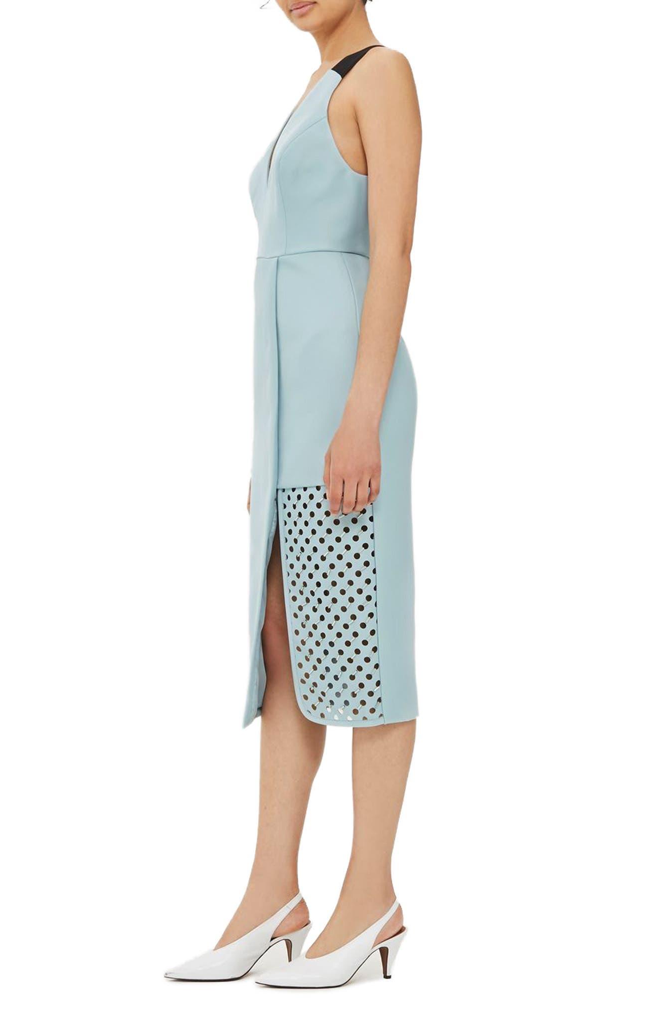 TOPSHOP Embellished Perforated Panel Sheath Dress