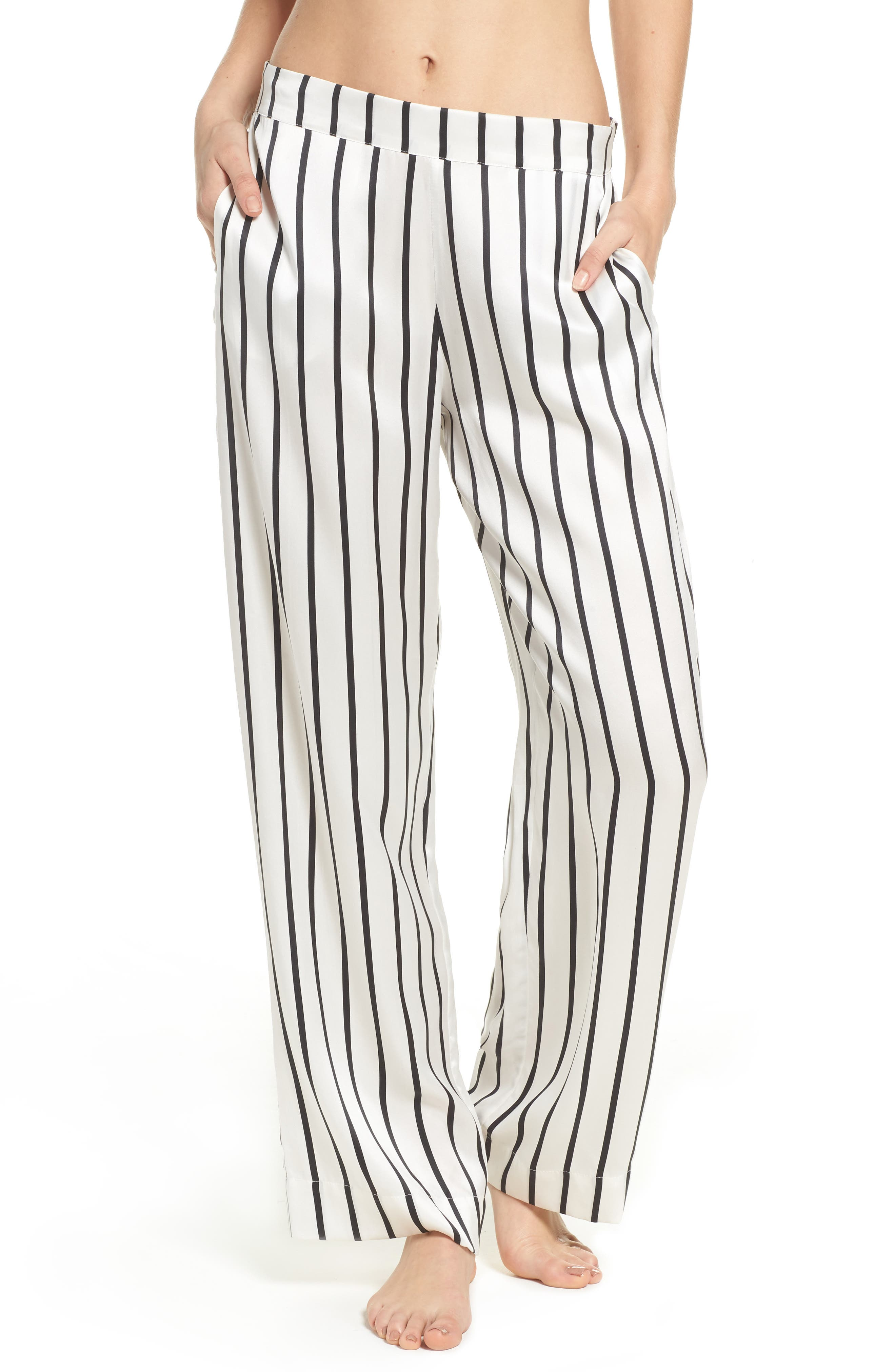 Stripe Silk Pajama Pants,                             Main thumbnail 1, color,                             Jet Black Stripe