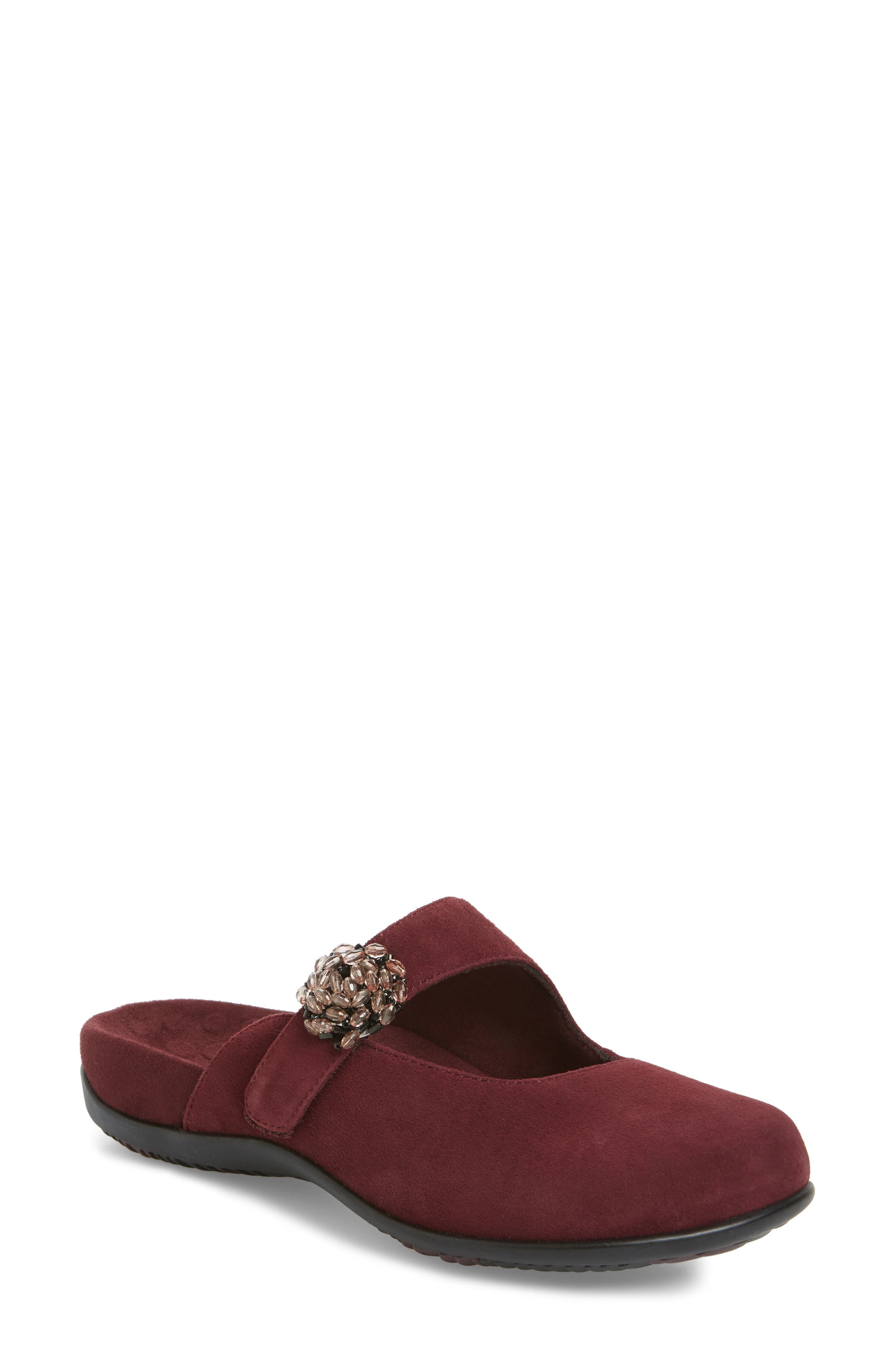 Rest Joan Mary Jane Mule,                             Main thumbnail 1, color,                             Merlot Suede