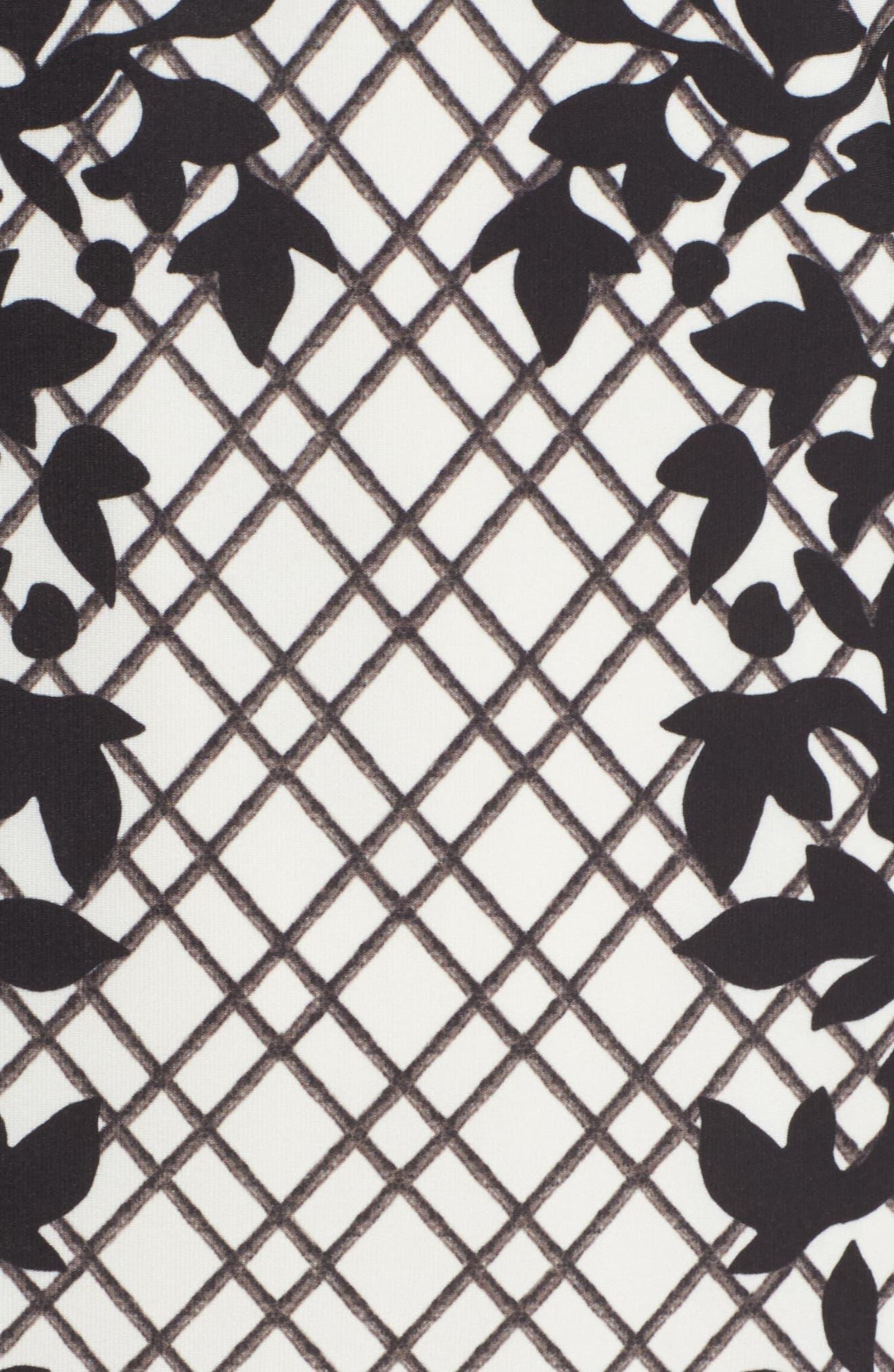 Print Knit Trumpet Dress,                             Alternate thumbnail 5, color,                             Black/ Pink