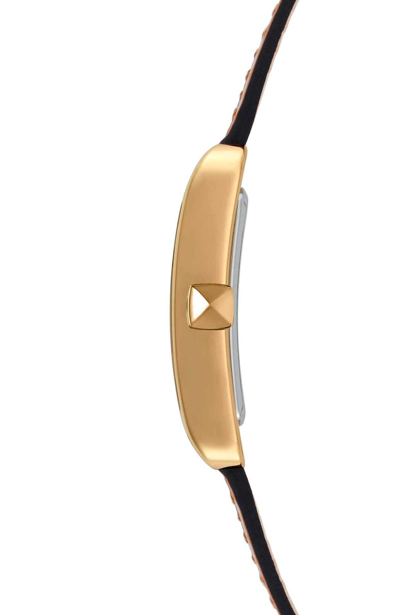 Moment Leather Strap Watch, 27mm x 39mm,                             Alternate thumbnail 3, color,                             Black/ Gold