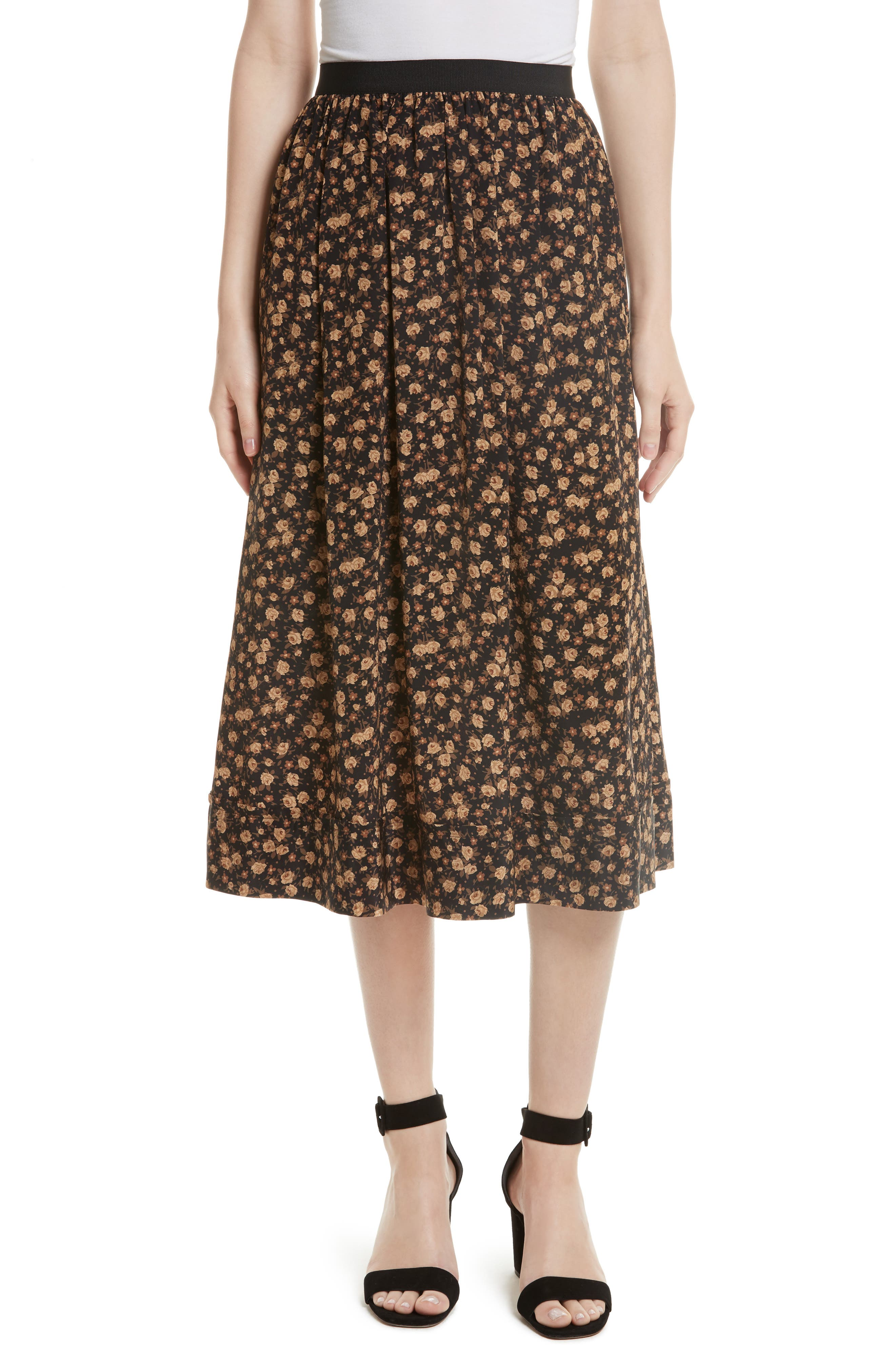 Tracy Reese Dirndl Silk Floral Midi Skirt