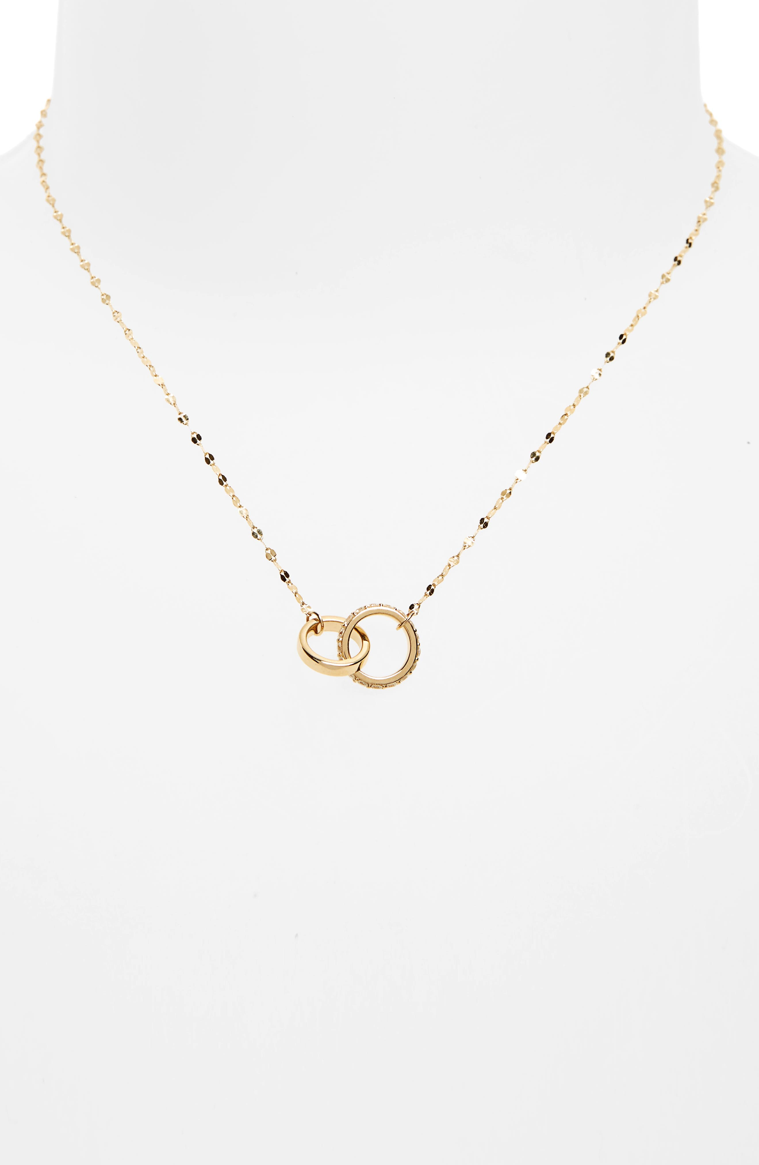 Flawless Diamond Link Pendant Necklace,                             Alternate thumbnail 2, color,                             Yellow Gold