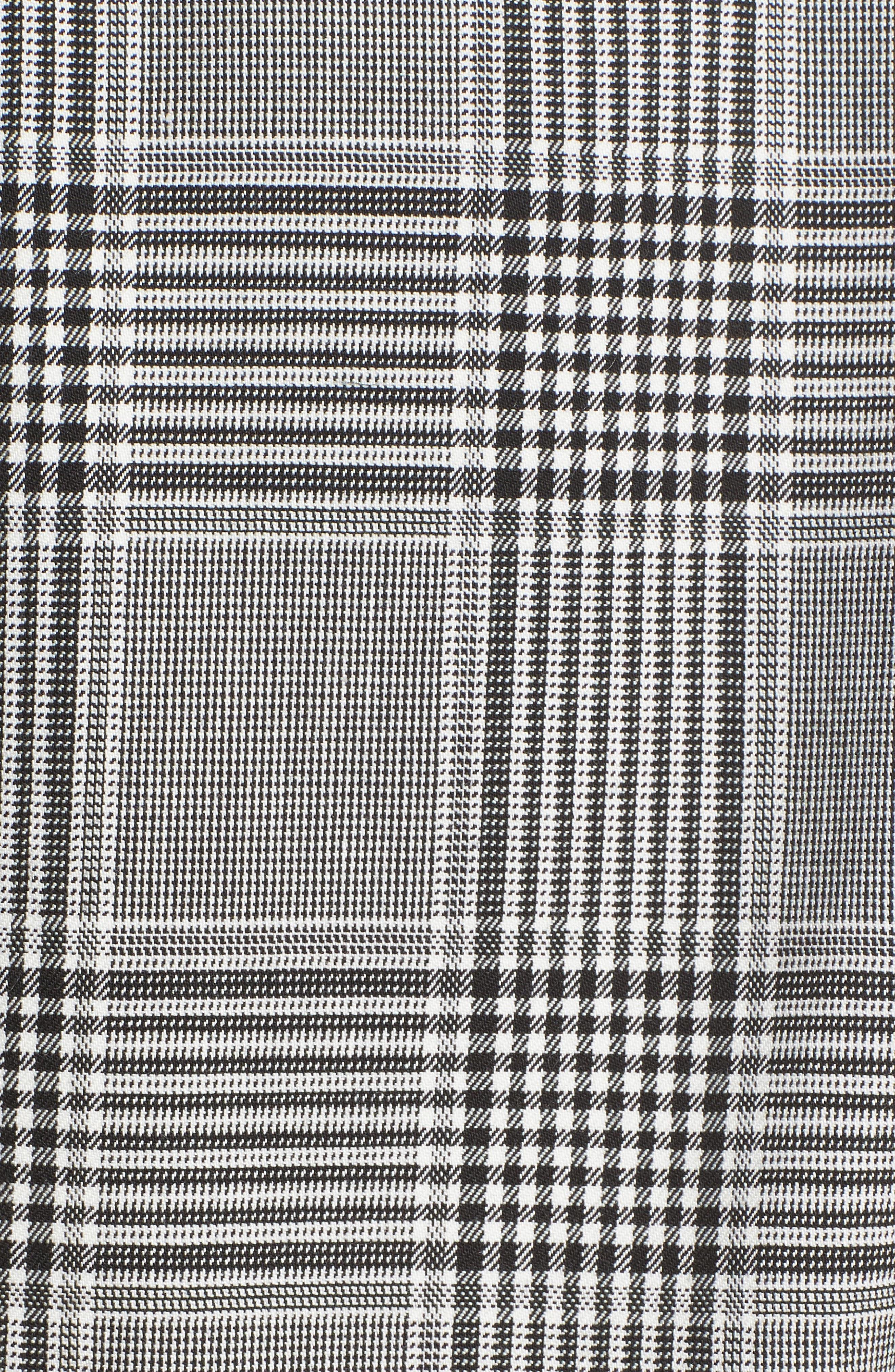 Leather Sleeve Check Blazer,                             Alternate thumbnail 6, color,                             Black/ White