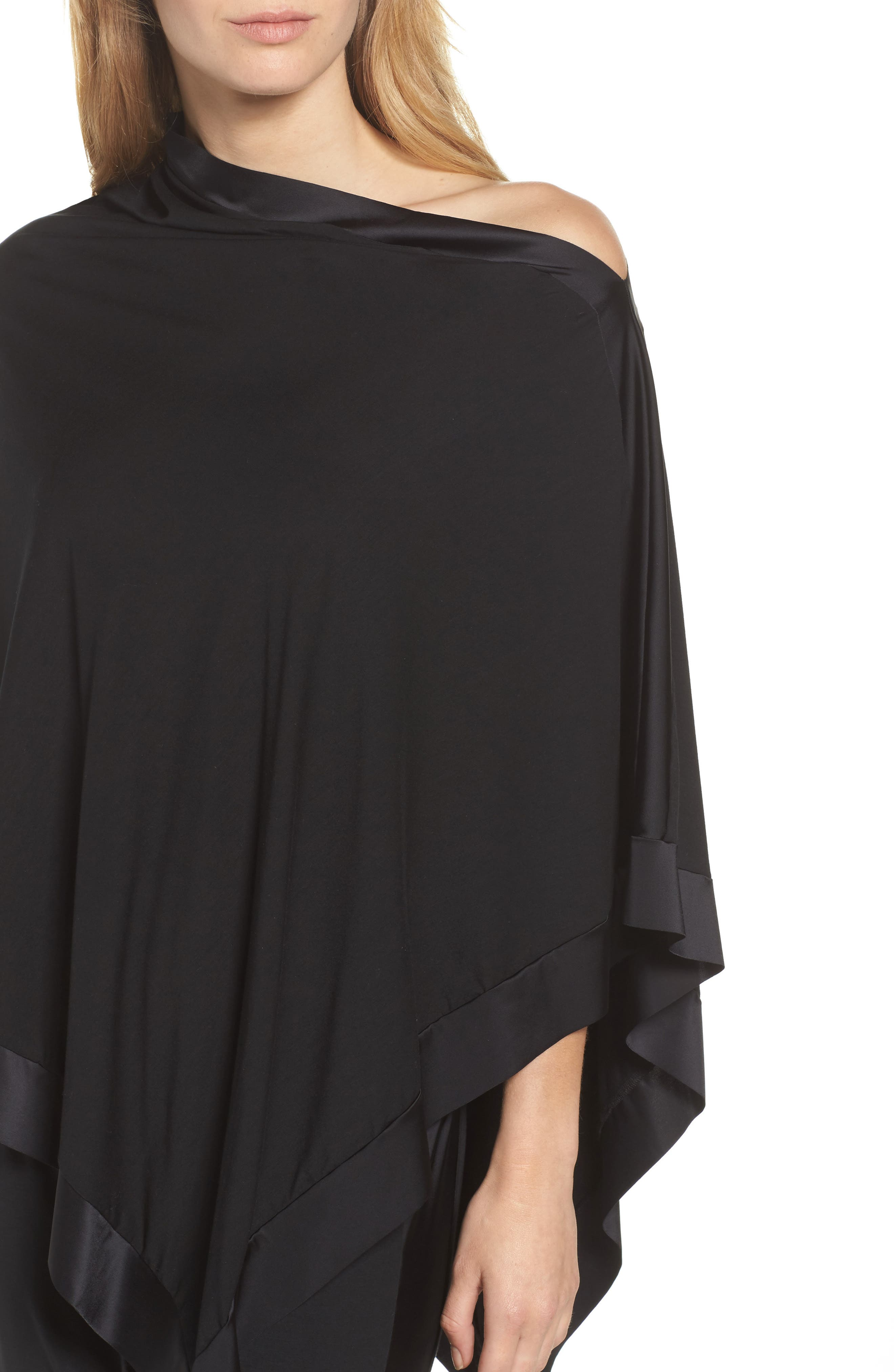 Butter & Satin Asymmetrical Poncho,                             Alternate thumbnail 5, color,                             Midnight