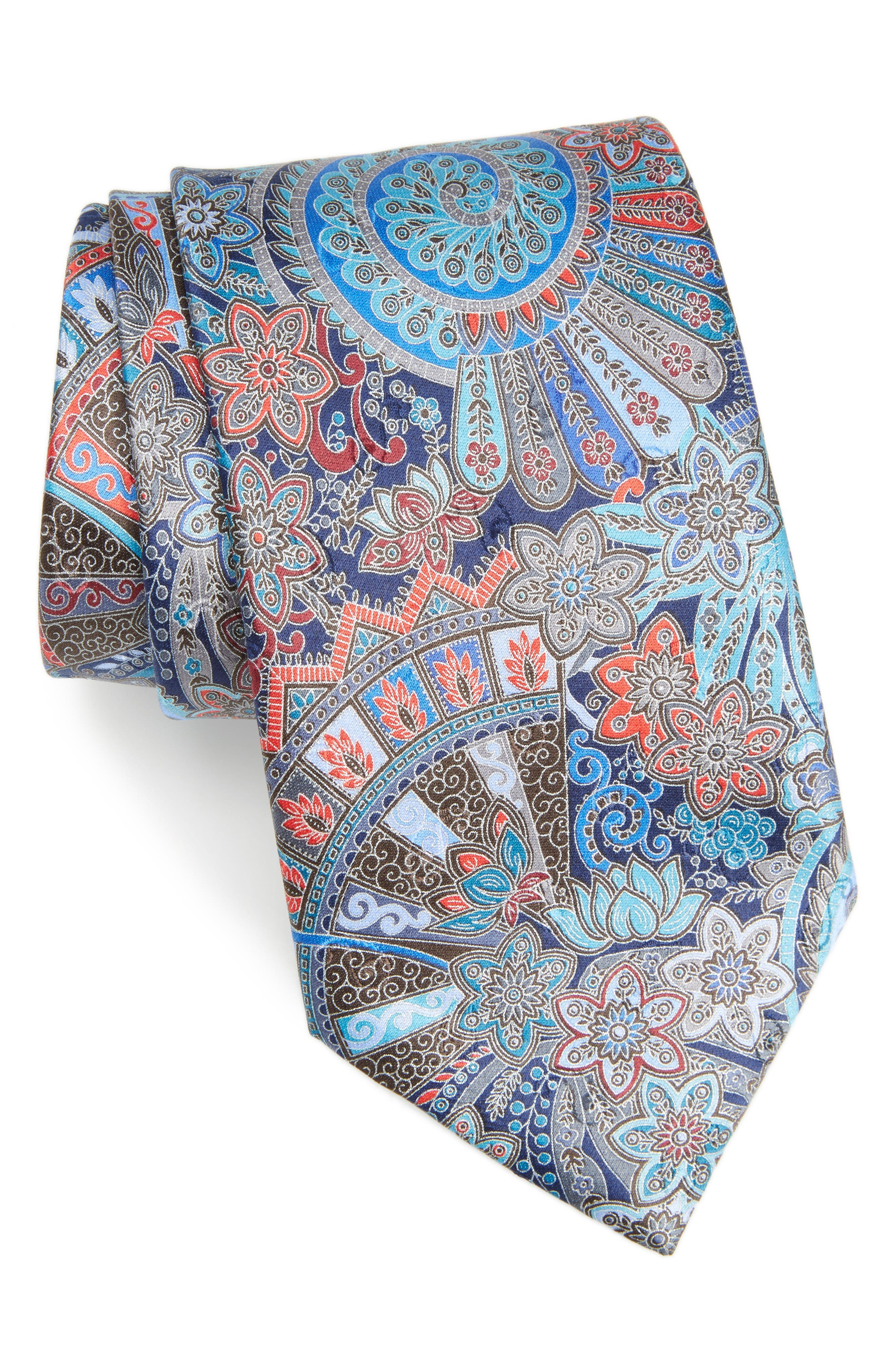 Quindici Paisley Silk Tie,                             Main thumbnail 1, color,                             Navy Fan