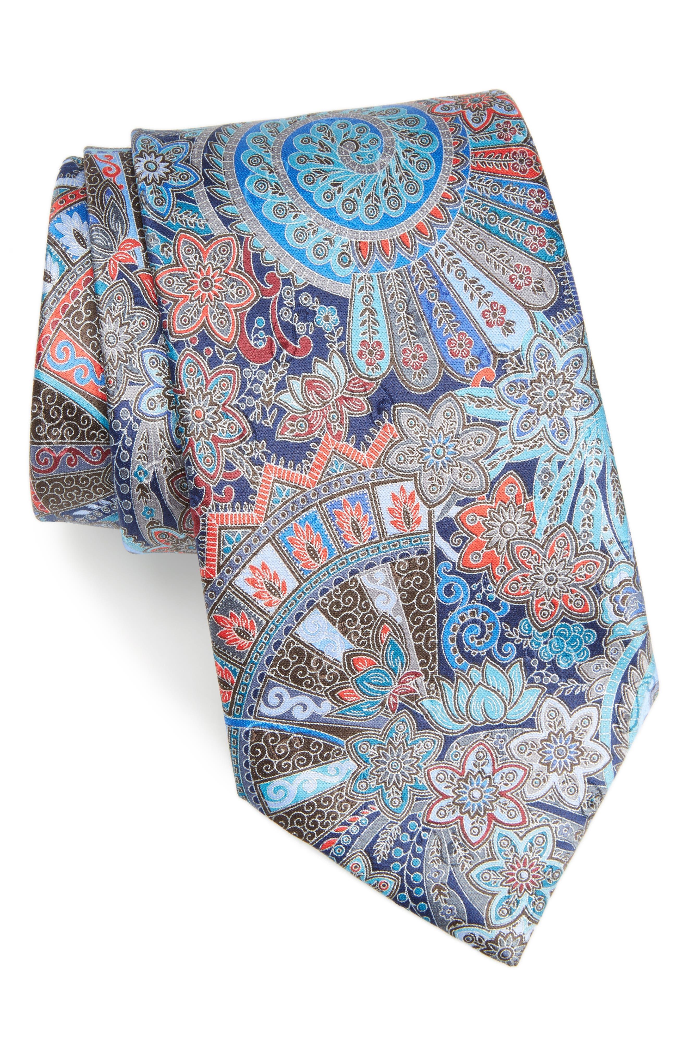 Quindici Paisley Silk Tie,                         Main,                         color, Navy Fan