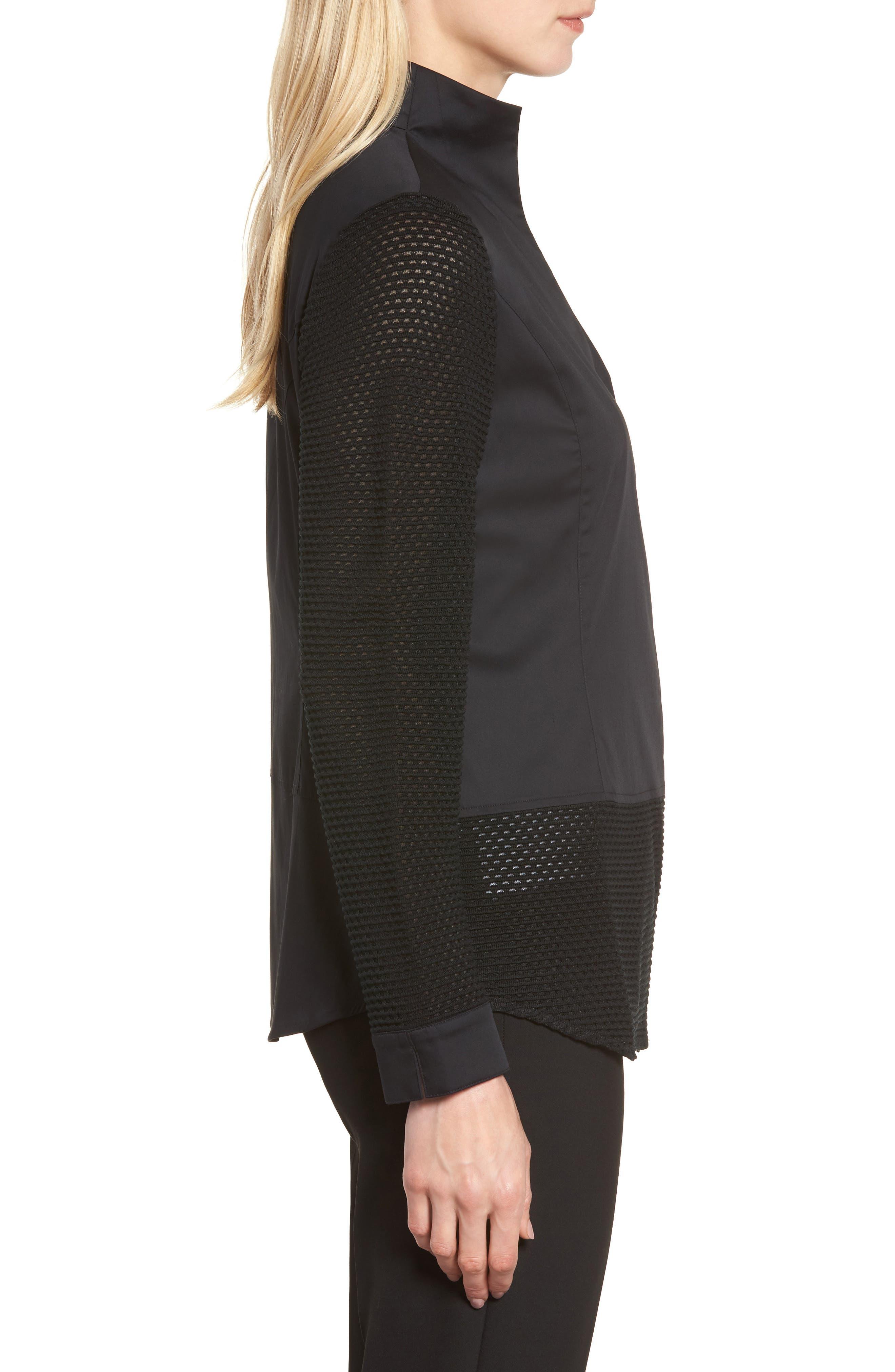 Woven & Knit Jacket,                             Alternate thumbnail 3, color,                             Black
