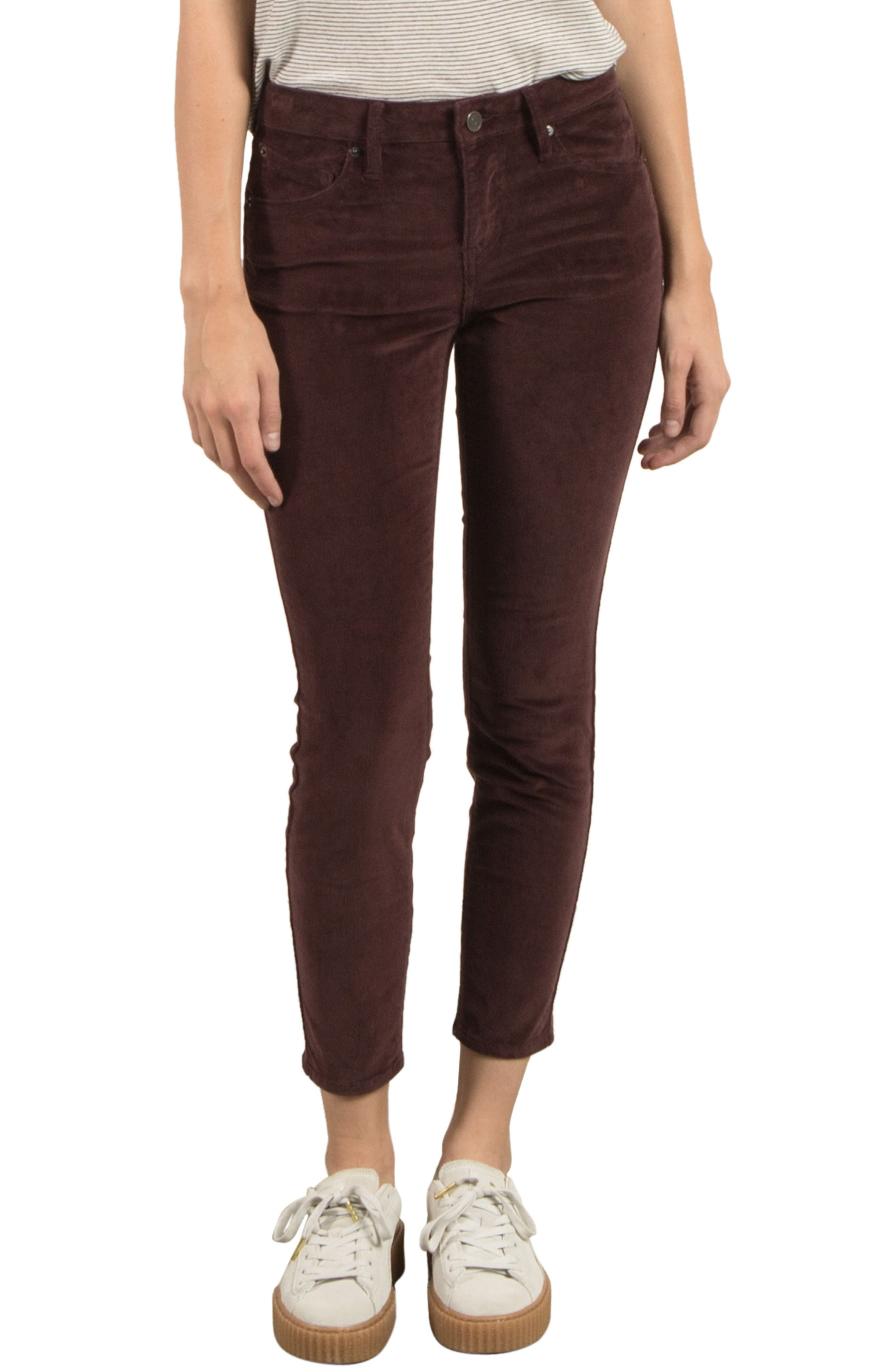 Corduroy Ankle Skinny Jeans,                             Main thumbnail 1, color,                             Plum