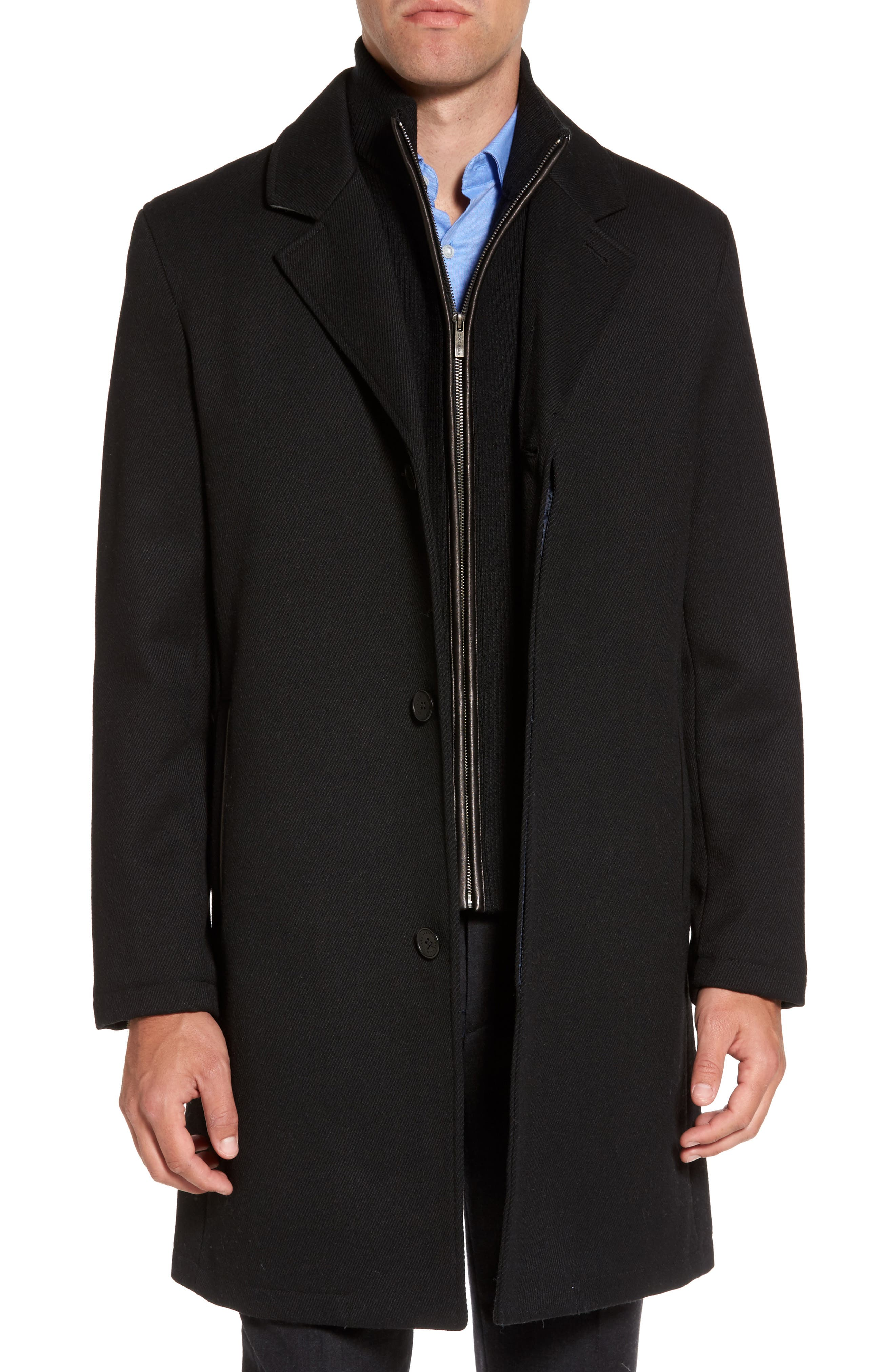 Modern Twill Topcoat with Removable Bib,                             Alternate thumbnail 3, color,                             Black