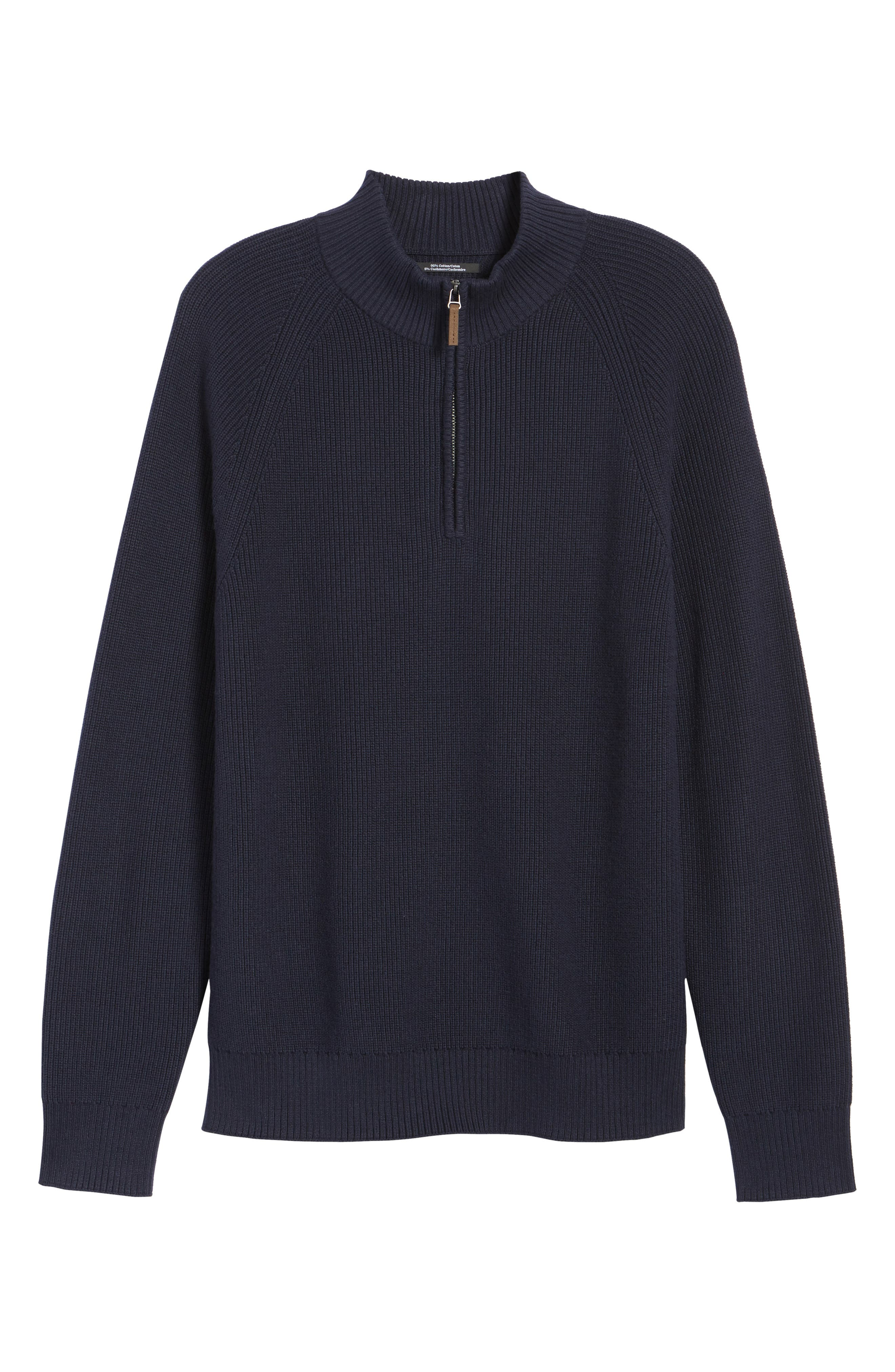 Ribbed Quarter Zip Sweater,                             Alternate thumbnail 6, color,                             Navy Night
