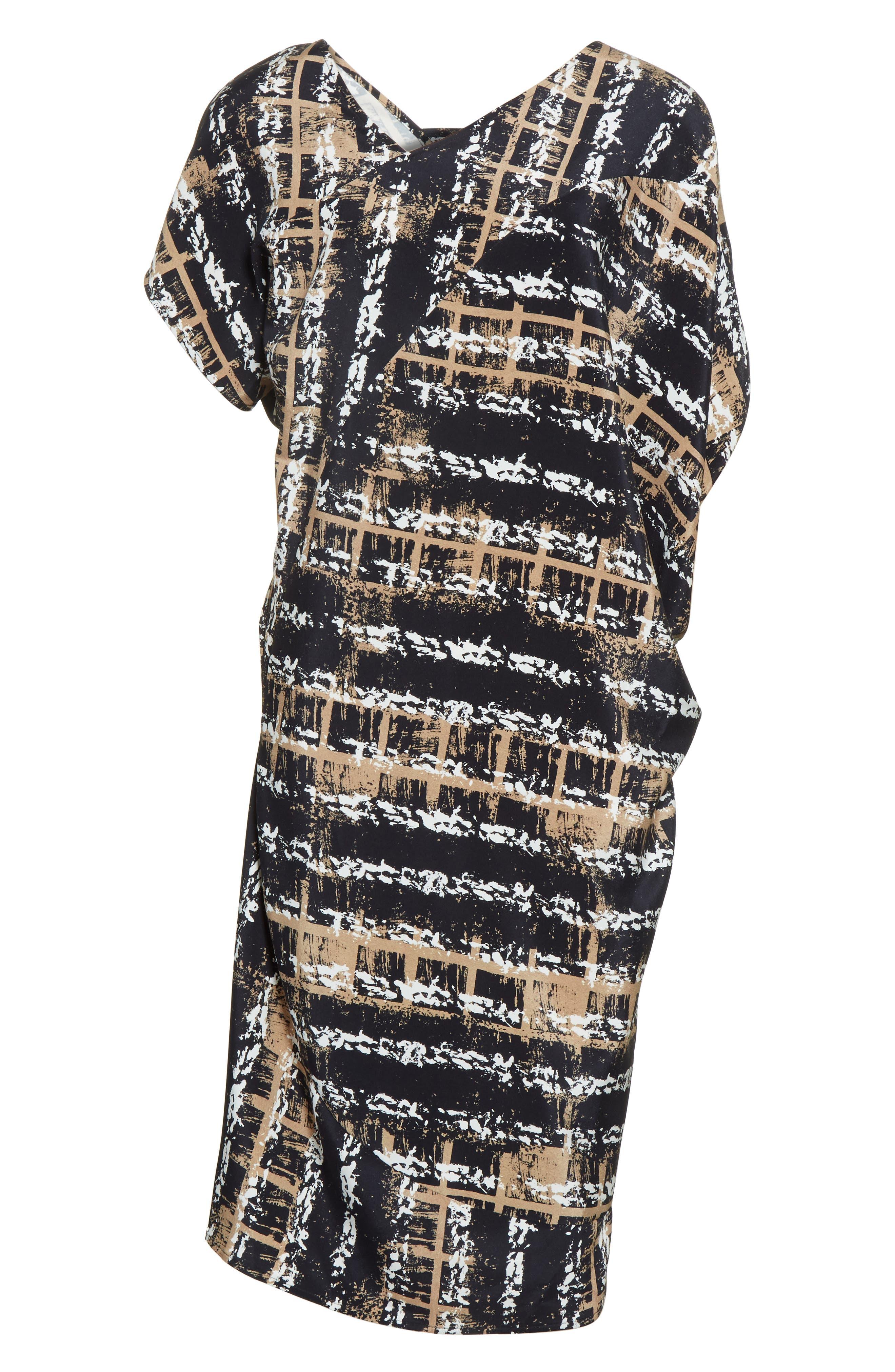 Painters Stripe Crêpe de Chine Dress,                             Alternate thumbnail 7, color,                             Painter Stripe