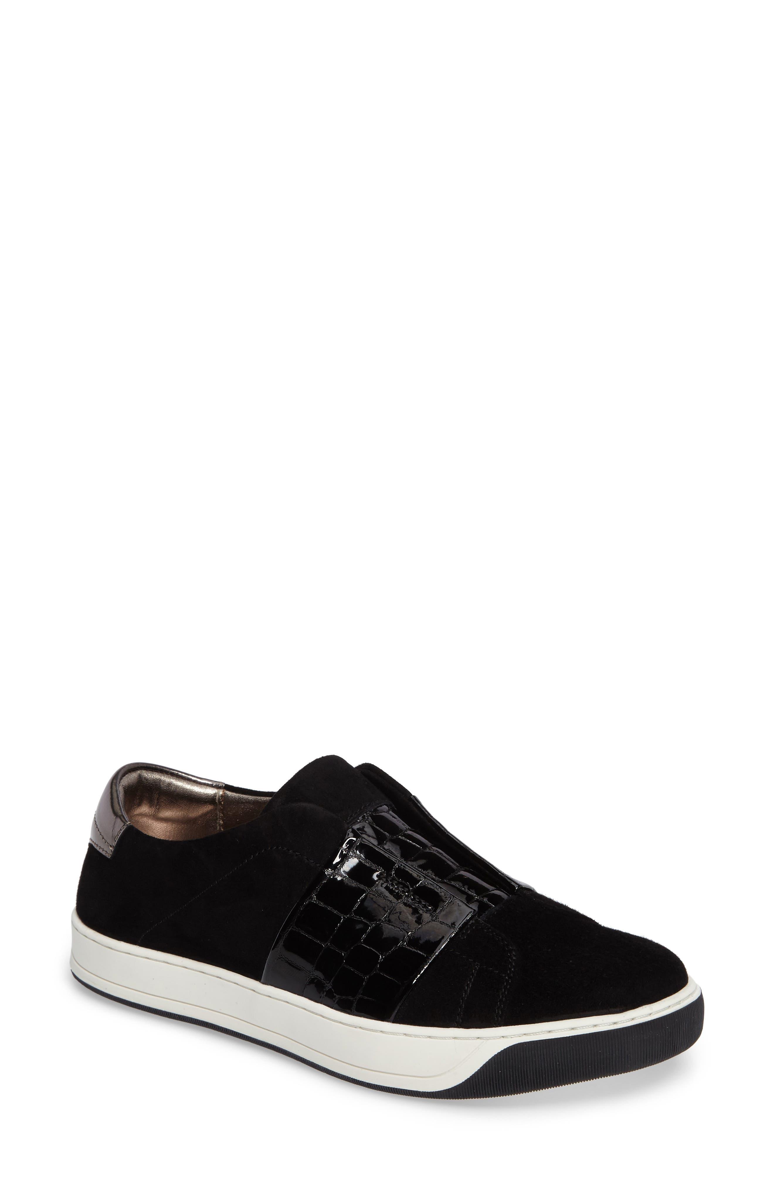 Eden Slip-On Sneaker,                             Main thumbnail 1, color,                             Black Suede