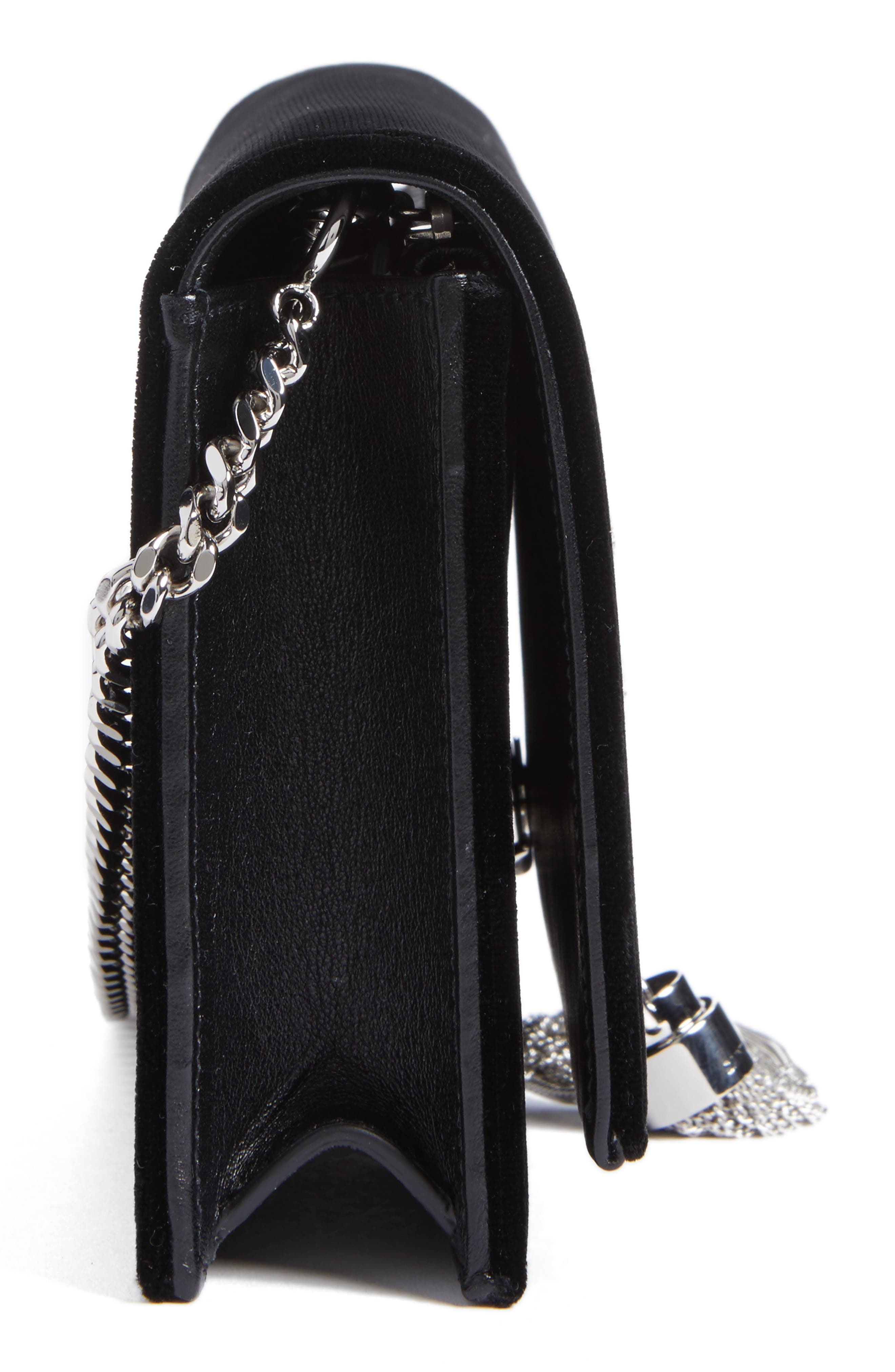 Small Kate Crystal Logo Wallet on a Chain,                             Alternate thumbnail 5, color,                             Noir/ Crystal