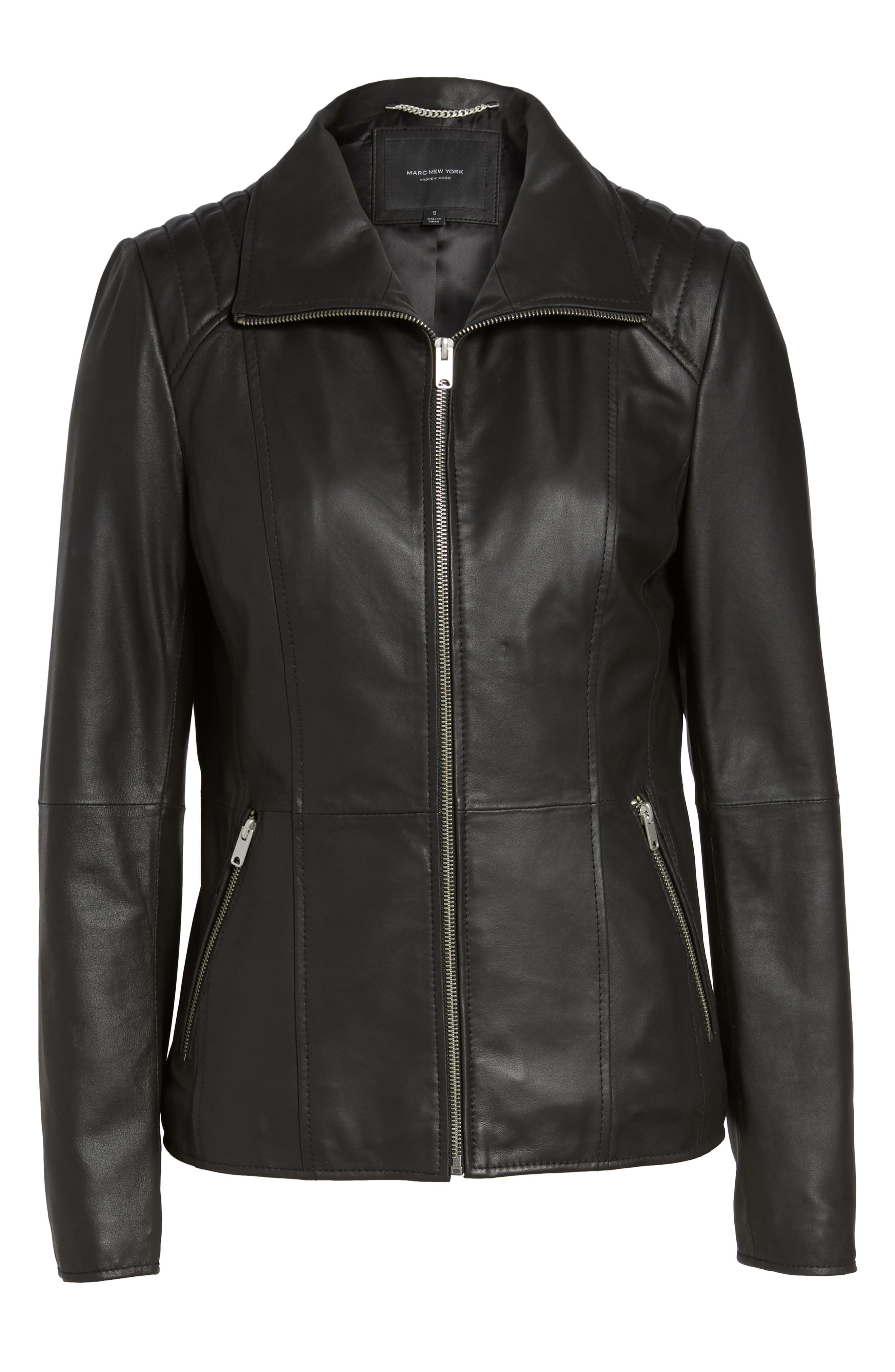 Fabian Feather Leather Jacket,                             Alternate thumbnail 6, color,                             Black