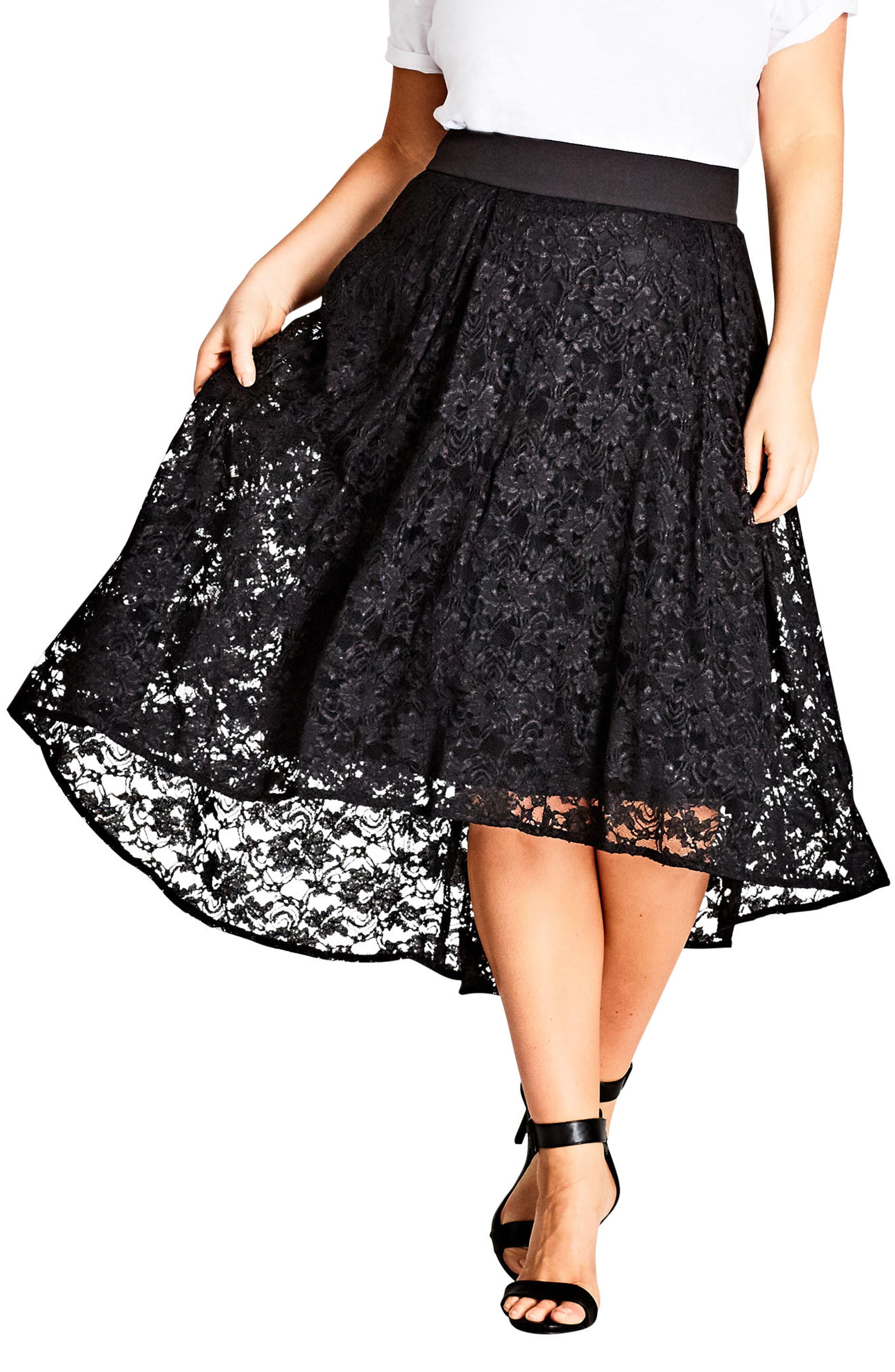 Lace High/Low Skirt,                             Main thumbnail 1, color,                             Black
