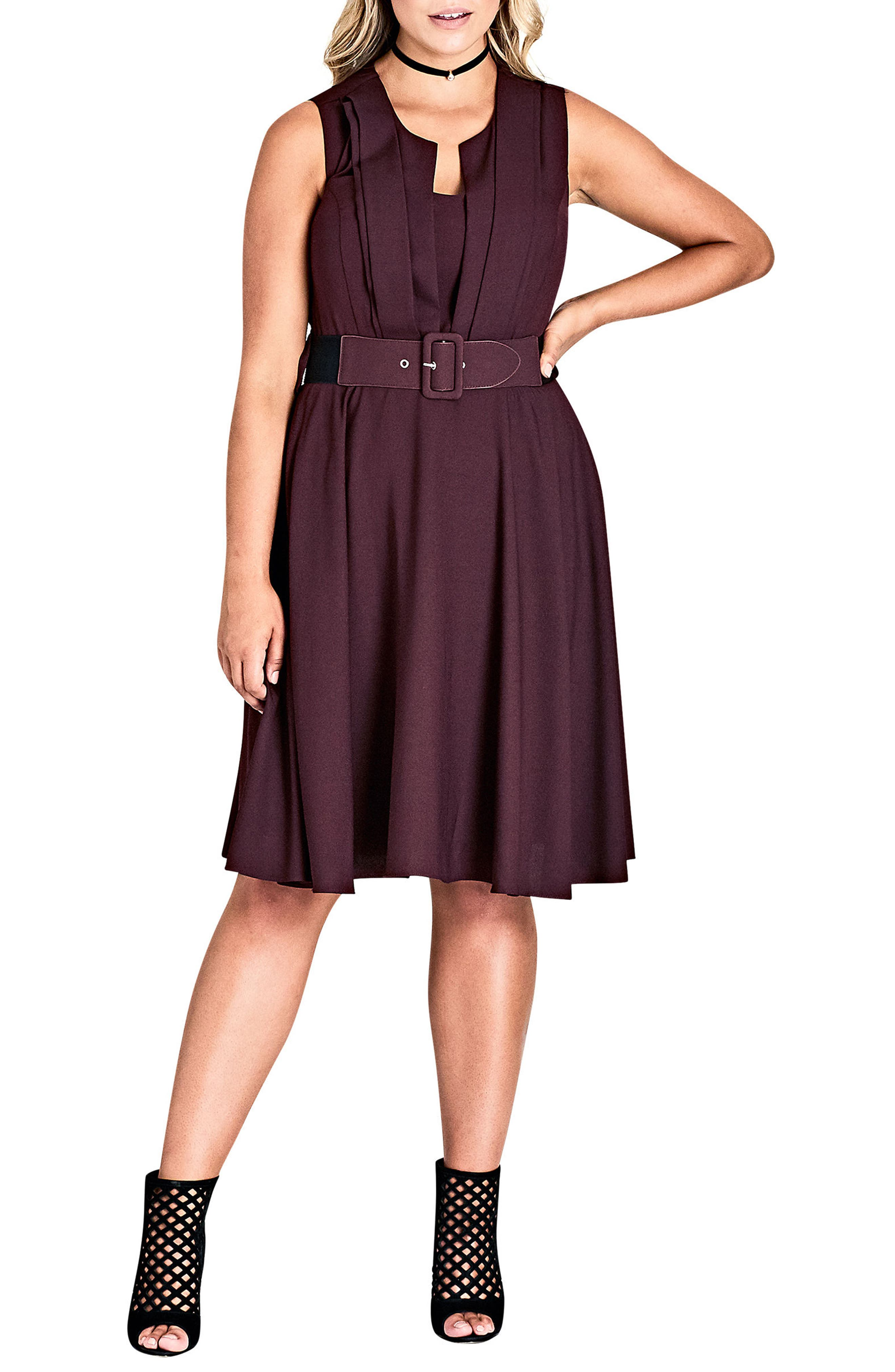 City Chic Vintage Veronica Belted Pleat Fit & Flare Dress (Plus Size)