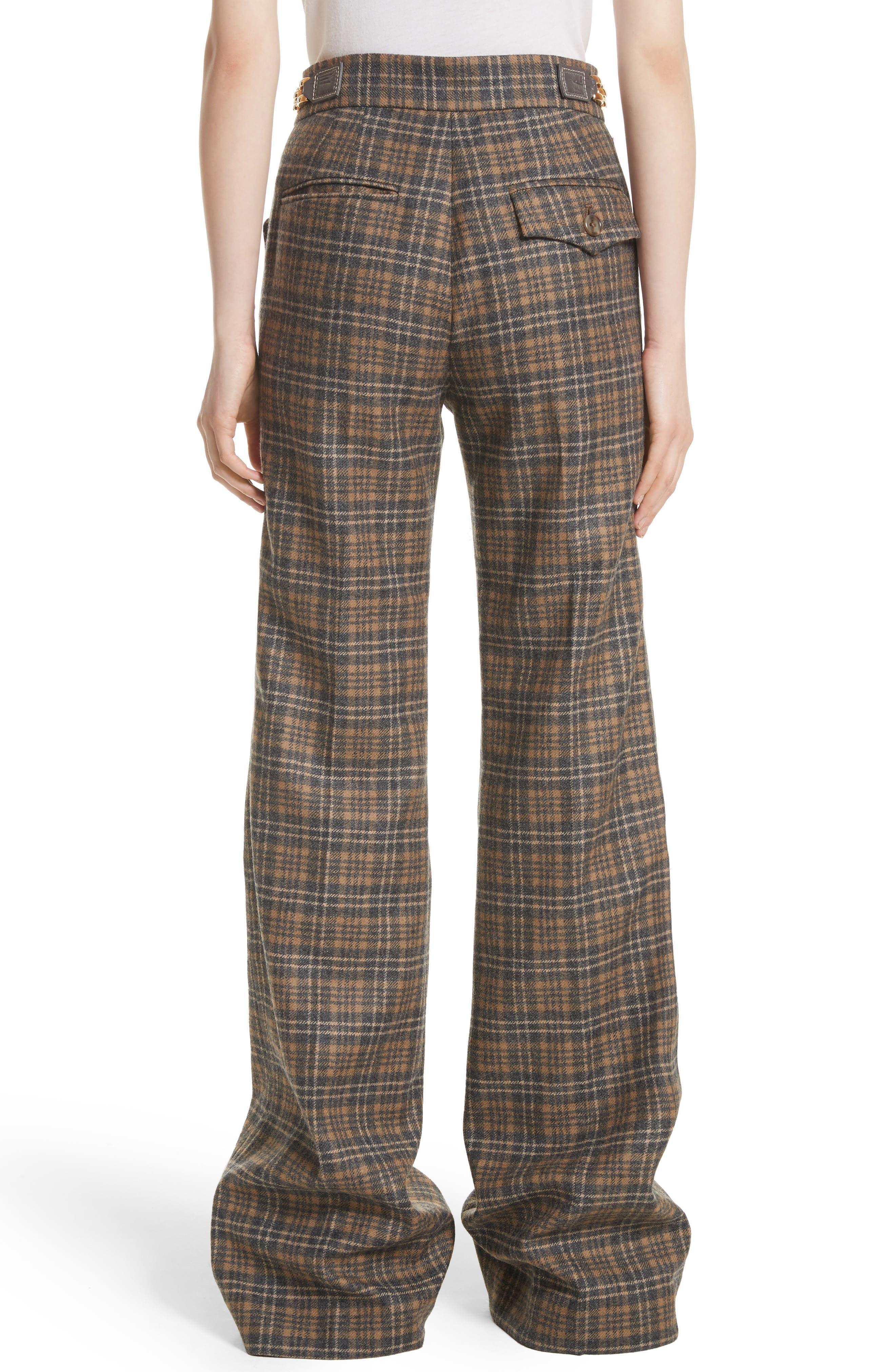 Plaid Wool Blend Wide Leg Pants,                             Alternate thumbnail 2, color,                             Camel Multi