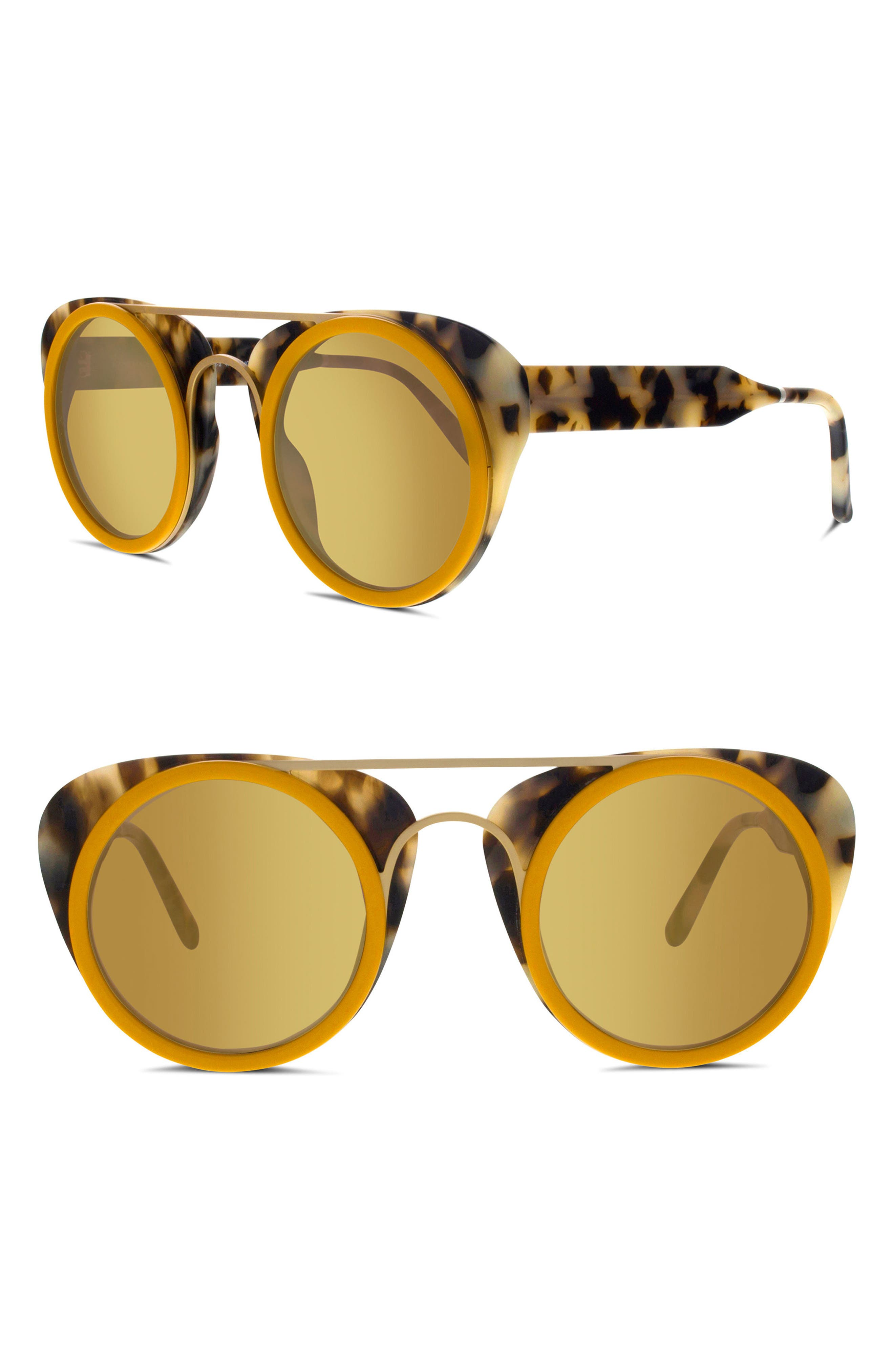 SMOKE X MIRRORS SODA POP 3 47MM ROUND SUNGLASSES - MOUTARD/ GOLD MIRROR