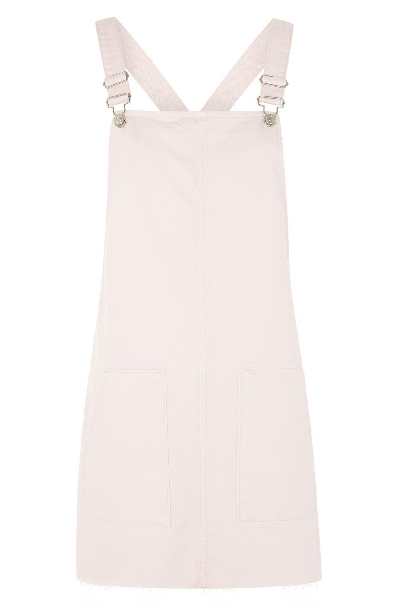 Alternate Image 4  - Topshop Denim Pinafore Dress (Regular & Petite)