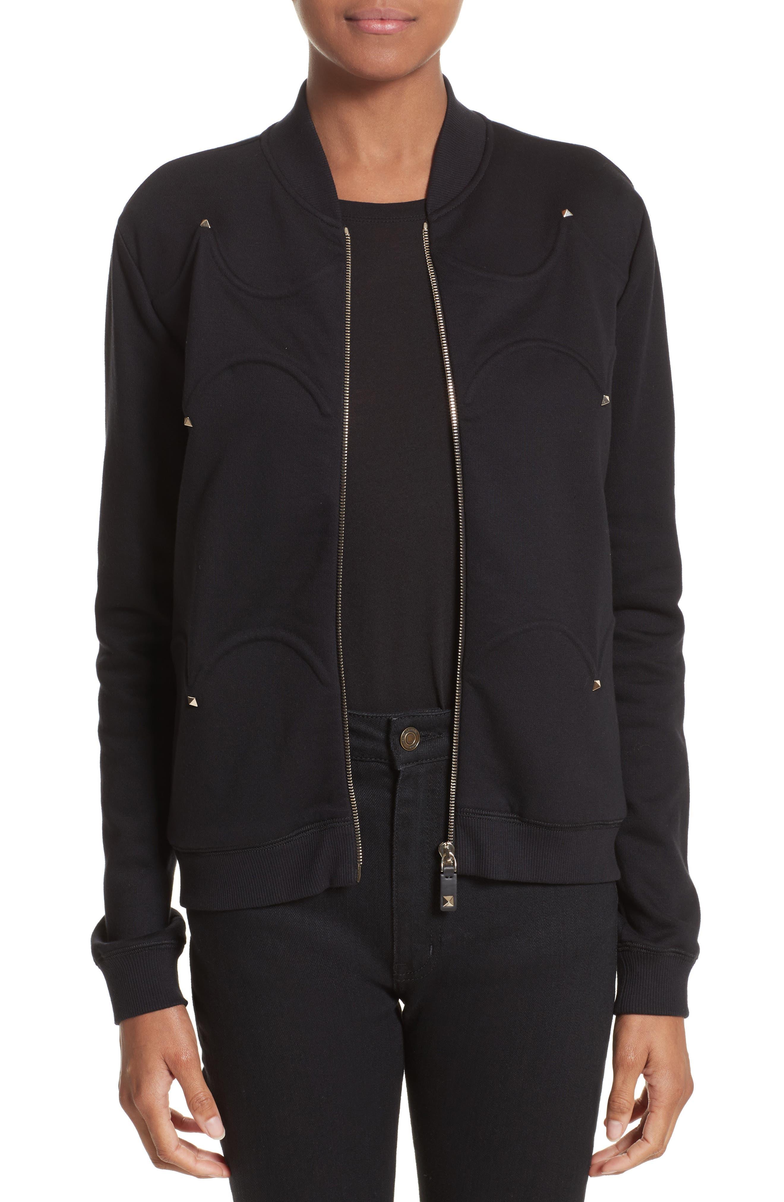 Rockstud Scalloped Sweatshirt,                         Main,                         color, Black