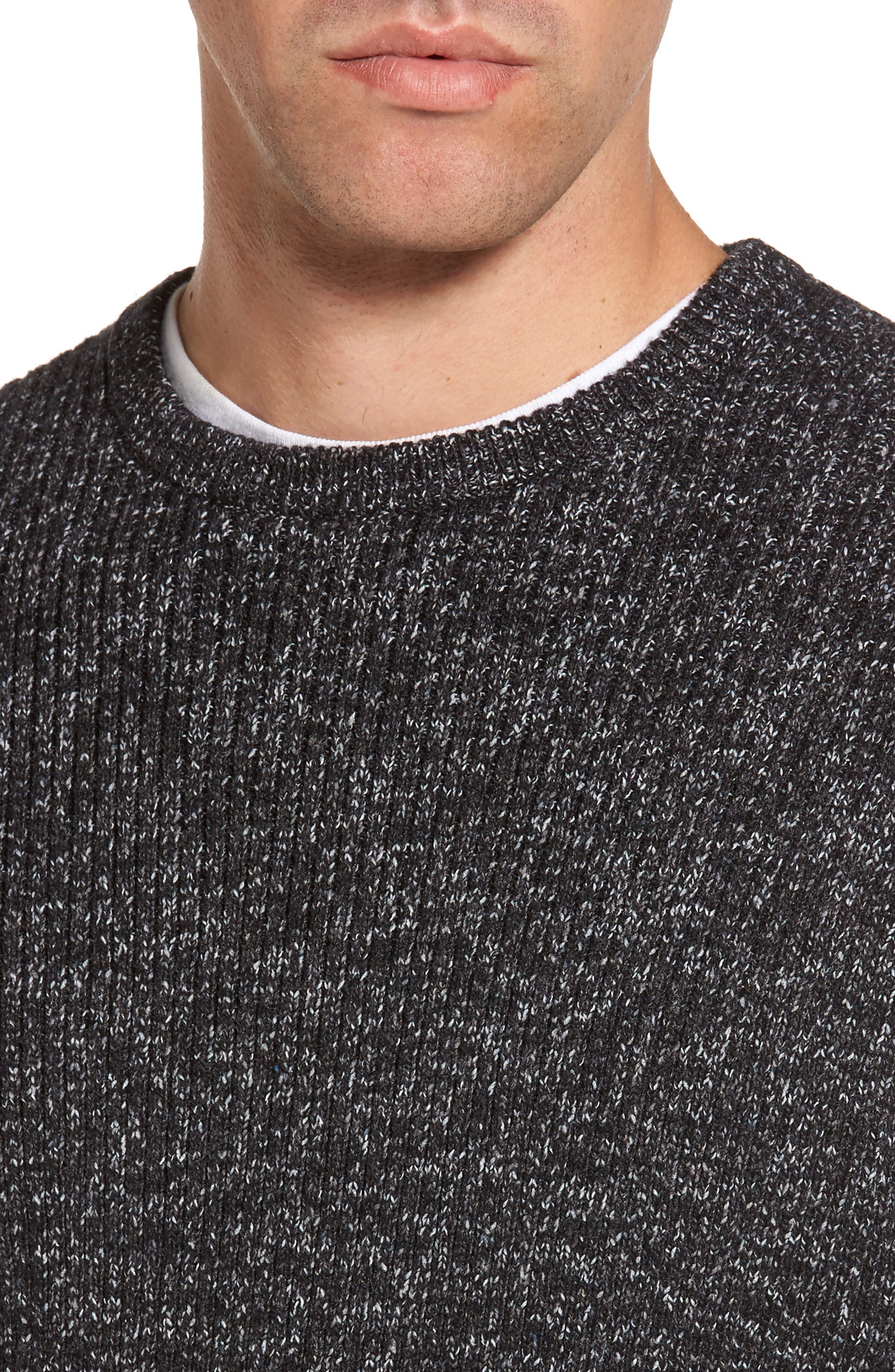 Donegal Space Dye Nep Sweater,                             Alternate thumbnail 4, color,                             Charcoal Donegal
