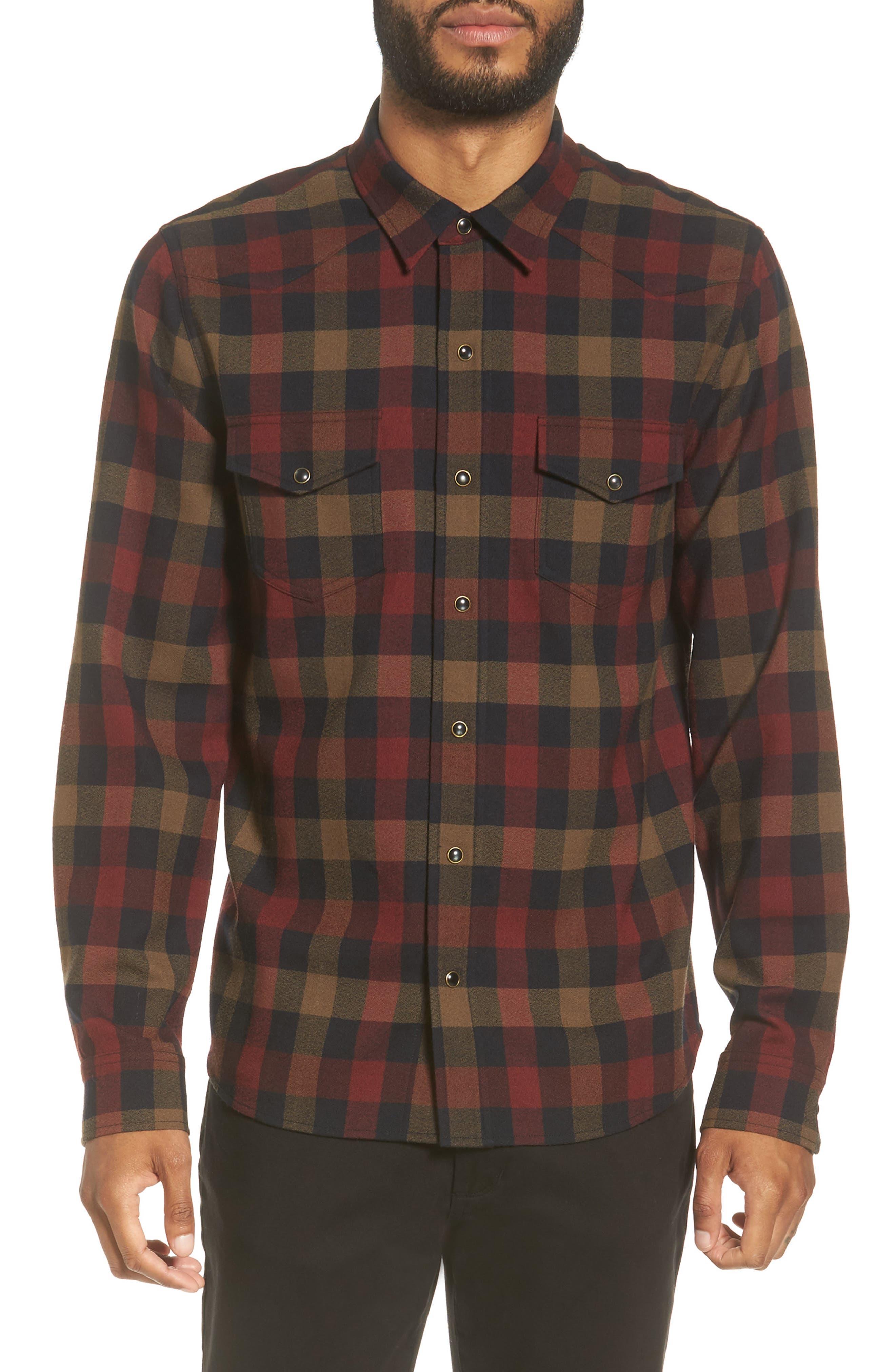 Regular Fit Buffalo Check Sport Shirt,                         Main,                         color, Red